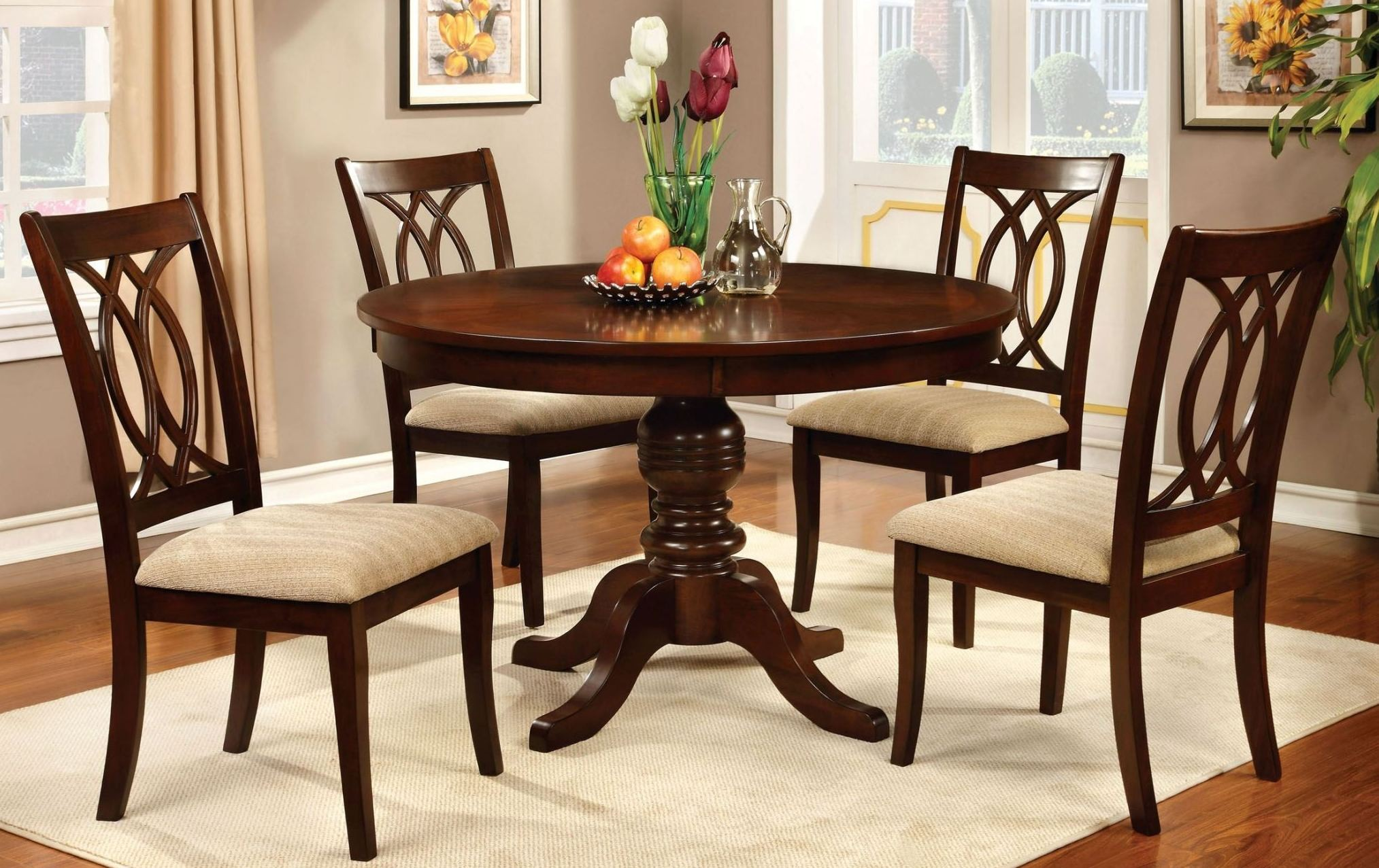 Carlisle brown cherry round pedestal dining room set from for Cherry dining room set