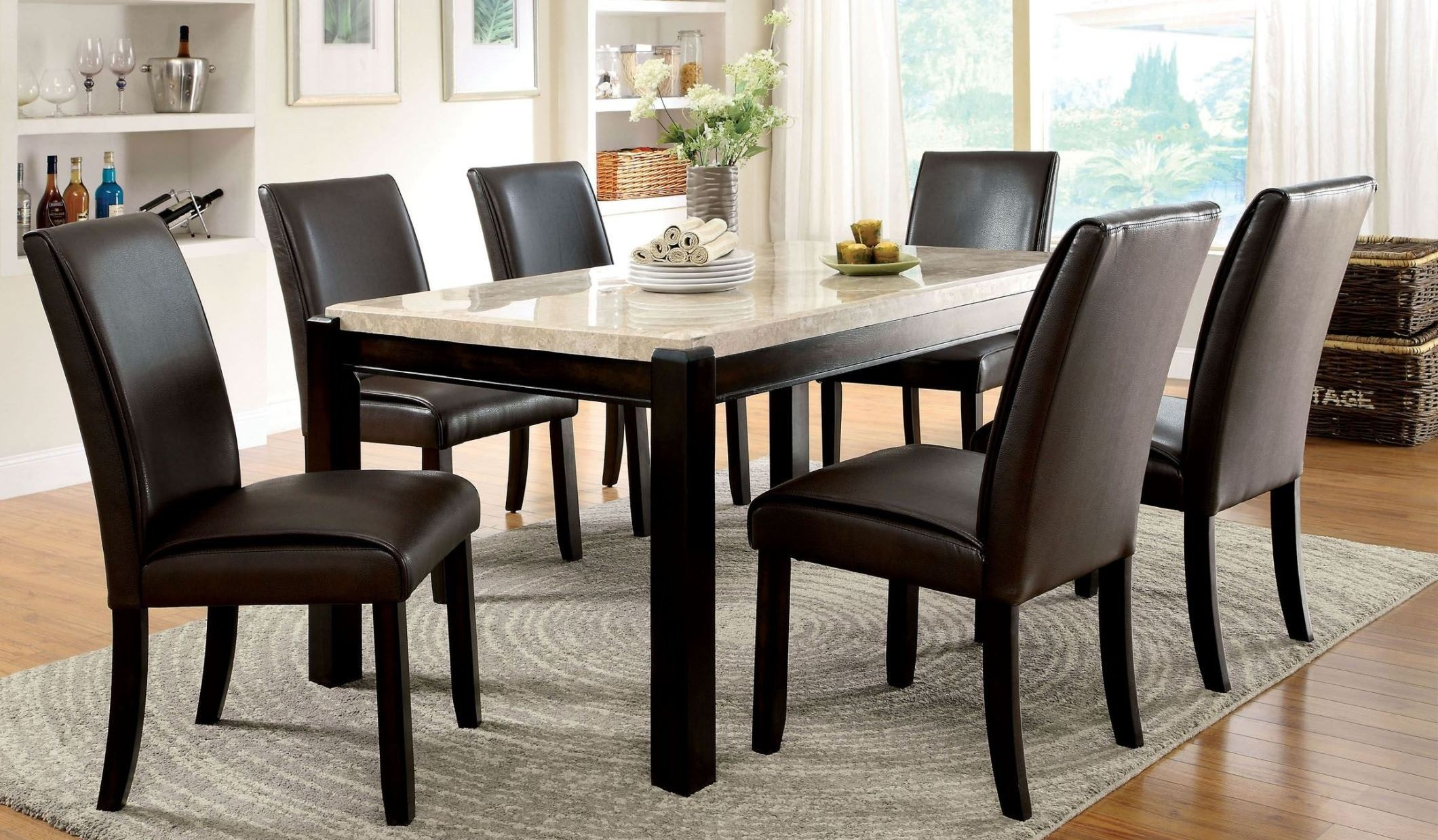 Gladstone I China Marble Table Top Dining Room Set from ...