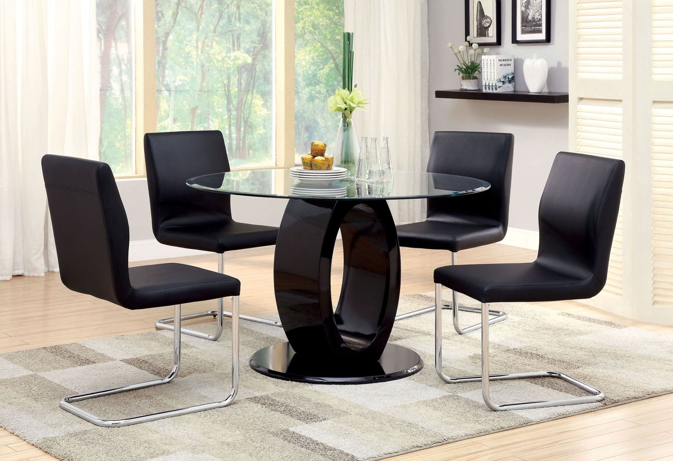 Lodia I Black Glass Top Round Pedestal Dining Room Set from