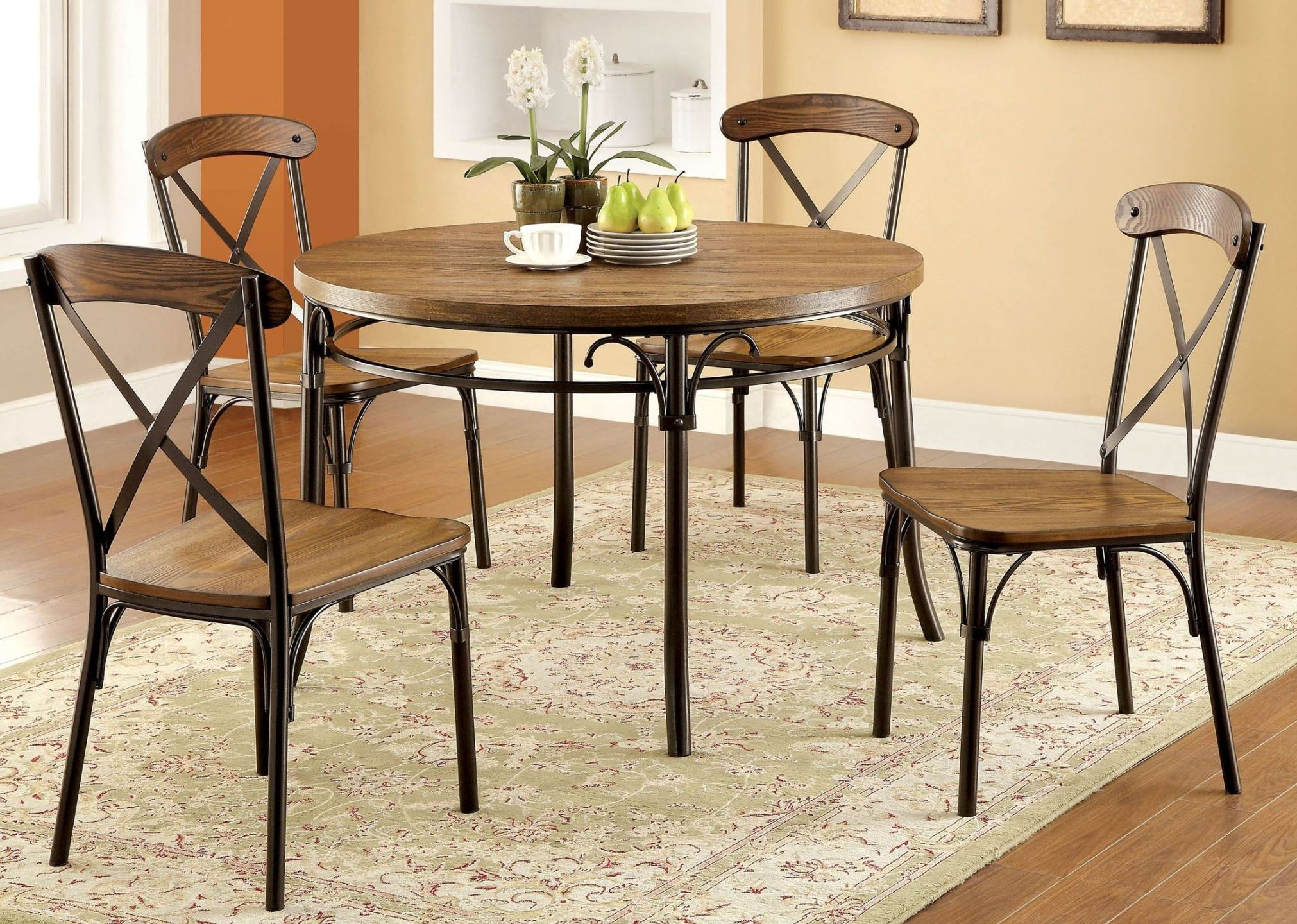 Crosby bronze round leg dining room set from furniture of