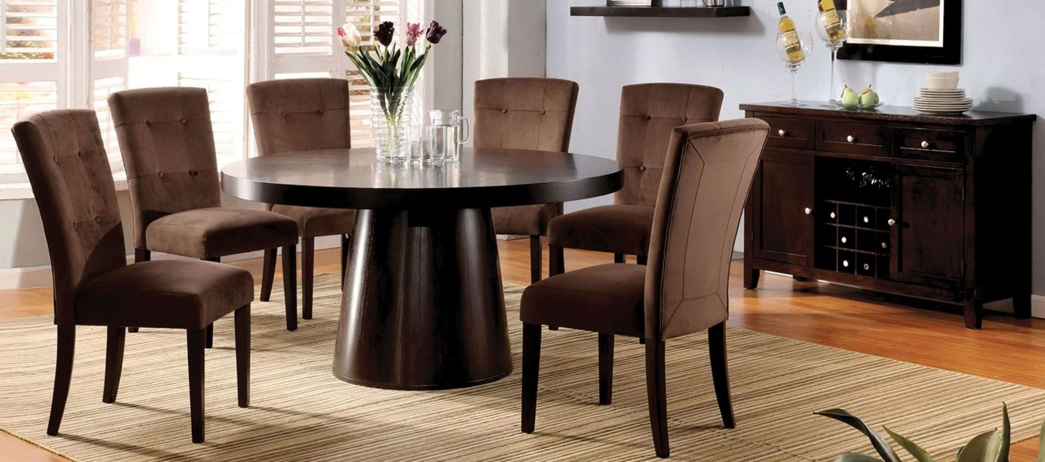 Havana espresso round pedestal dining room set from for Front room furniture sets