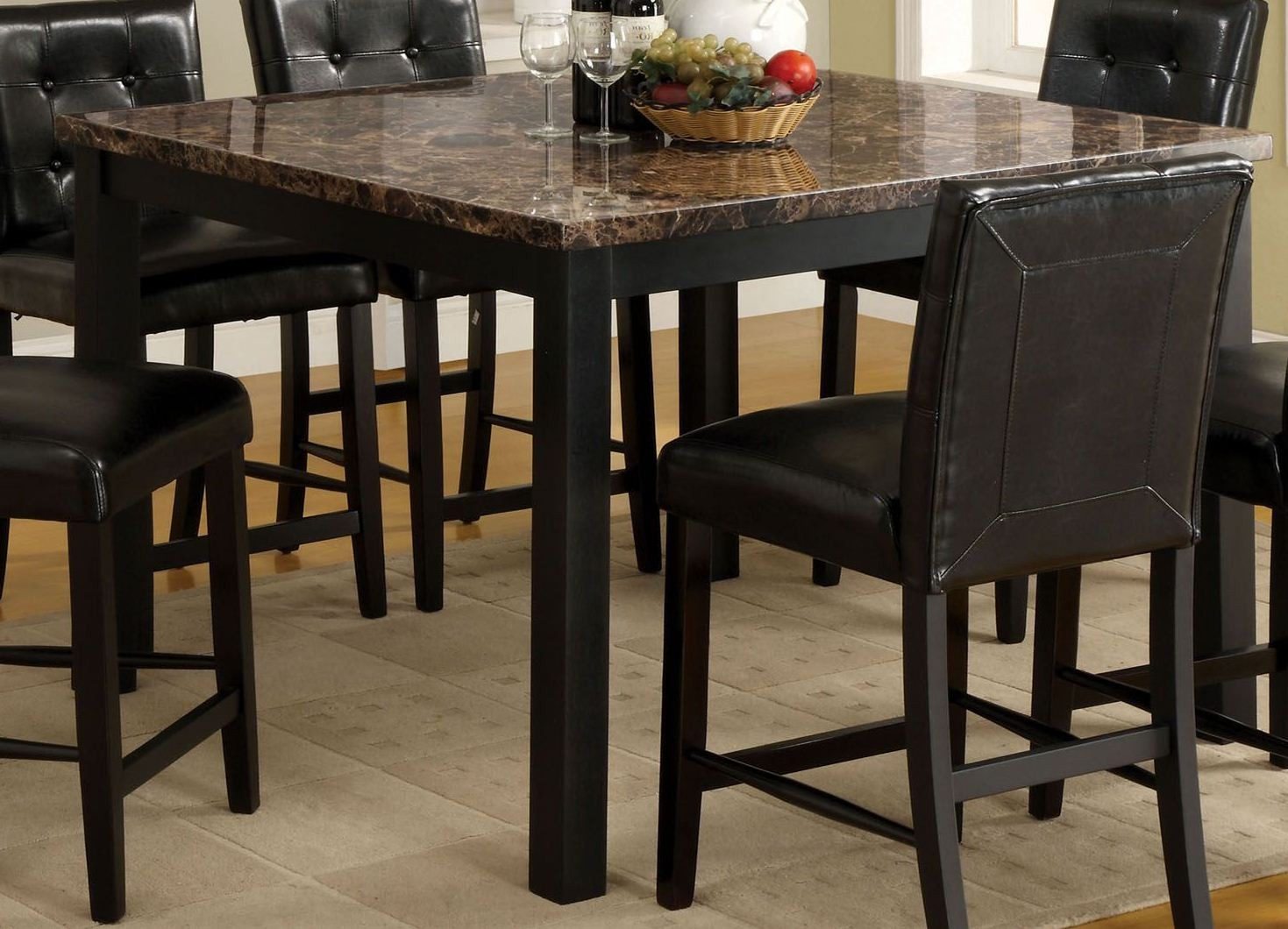 Boulder Ii Black Faux Marble Square Counter Height Leg