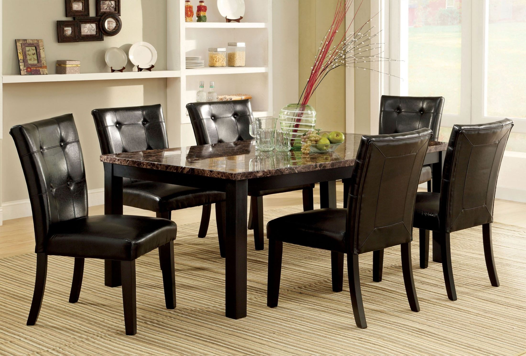 Boulder I Black Faux Marble Top Rectangular Leg Dining