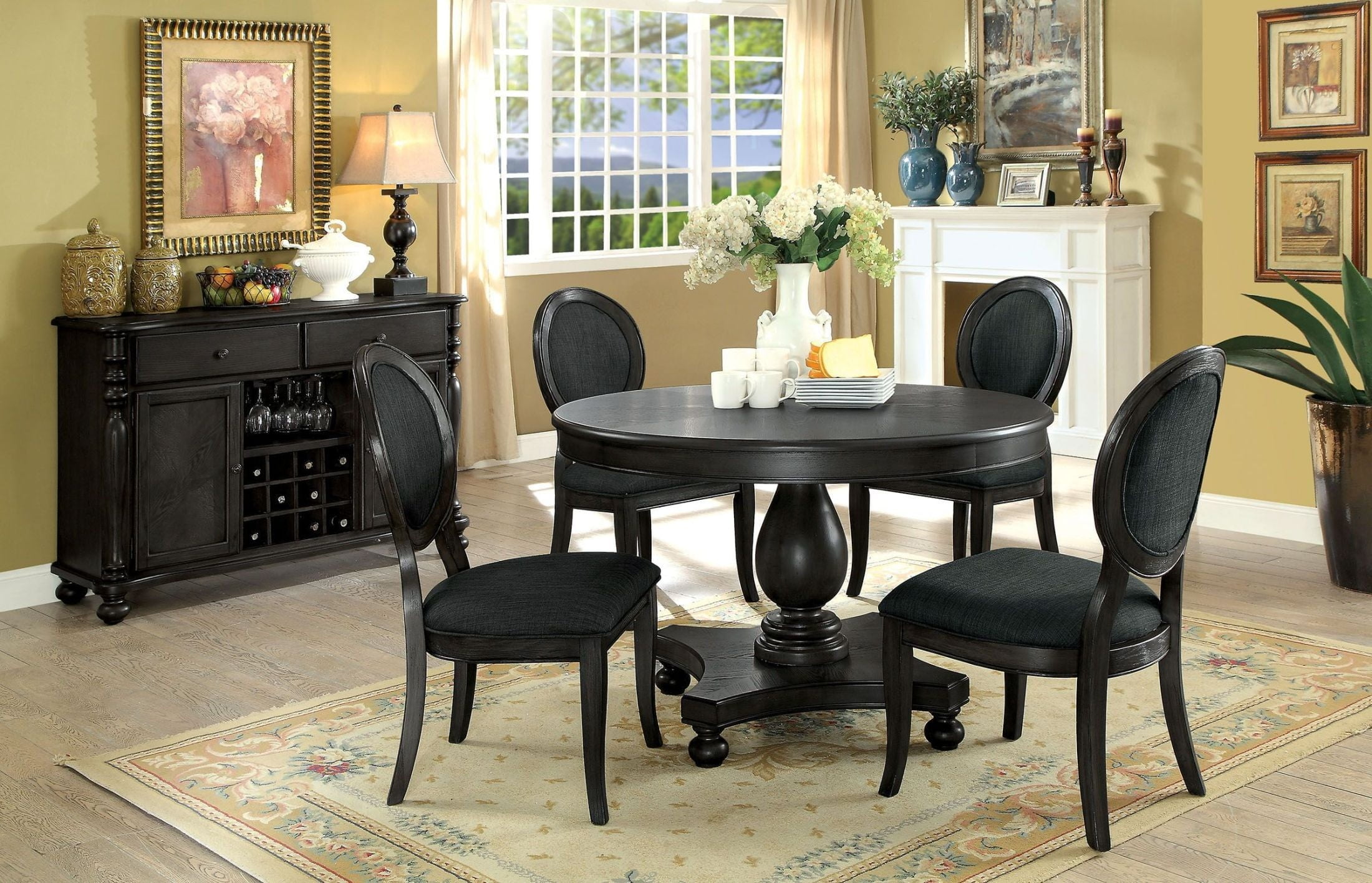 Kathryn dark gray dining room set from furniture of