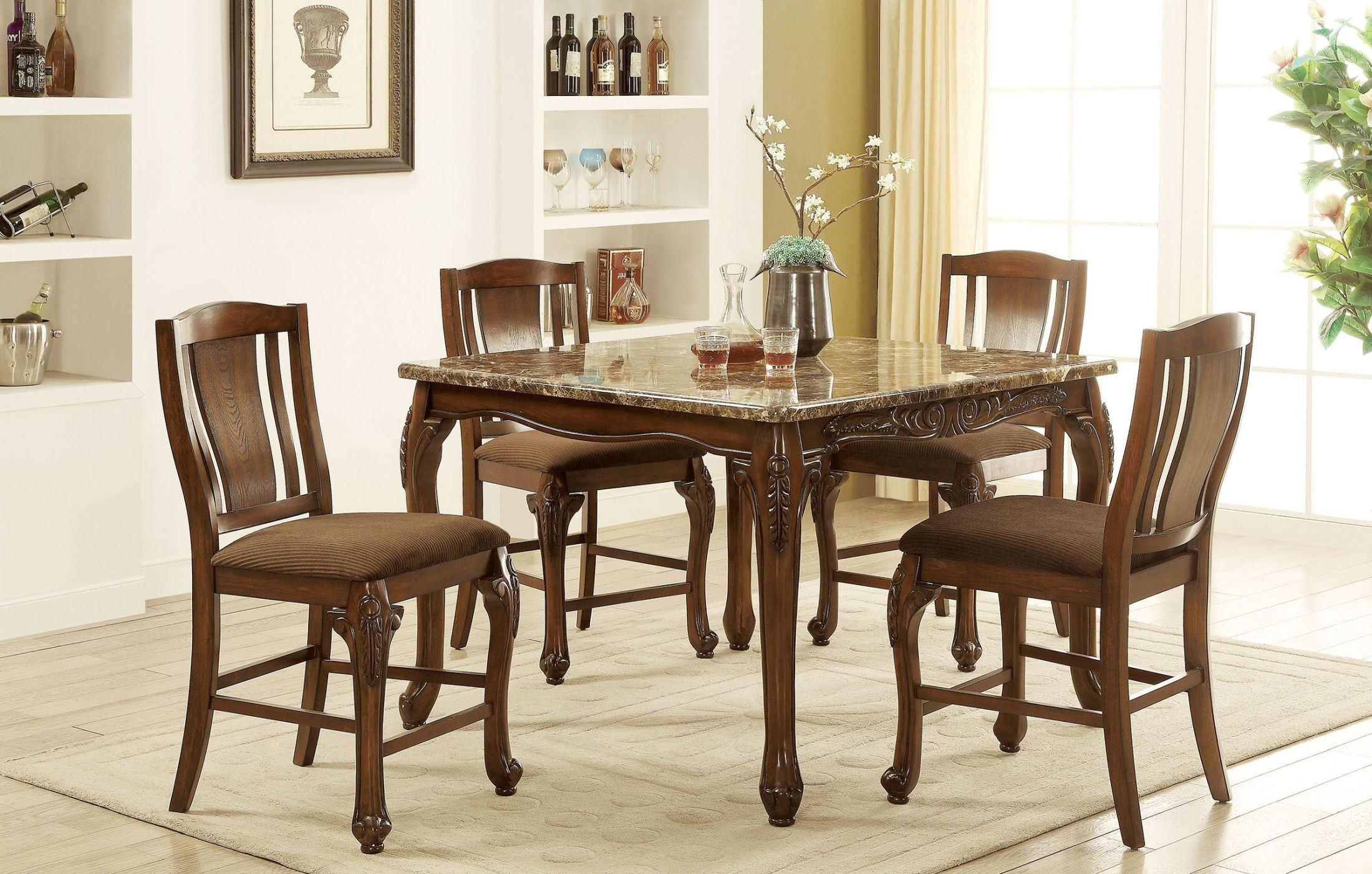 Johannesburg brown cherry counter height dining room set for Dining room tables johannesburg