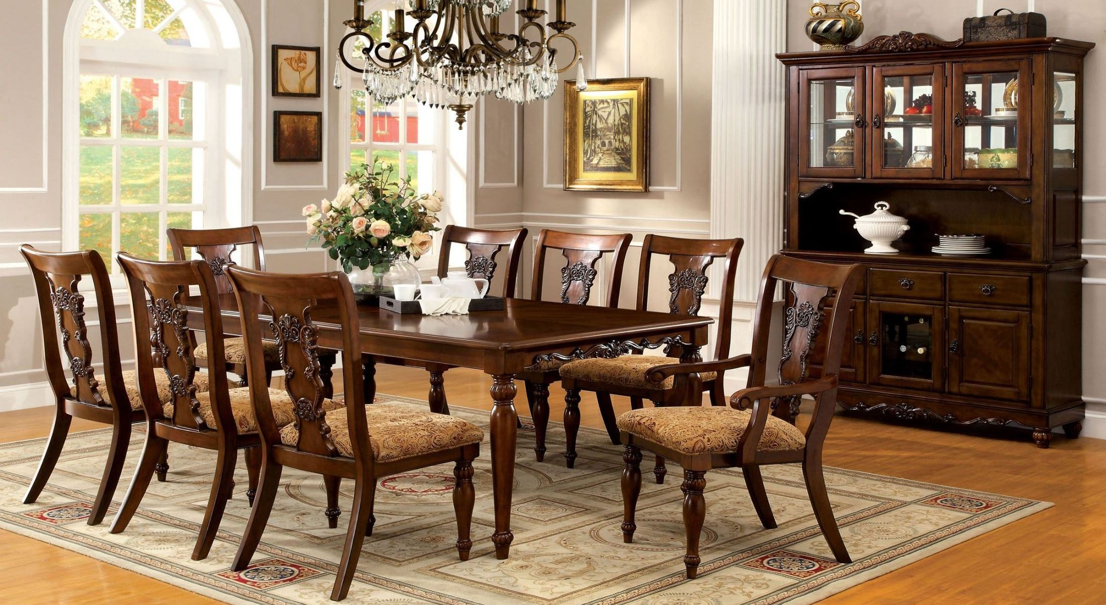 Seymour Dark Oak Rectangular Extendable Leg Dining Room Set From Furniture Of