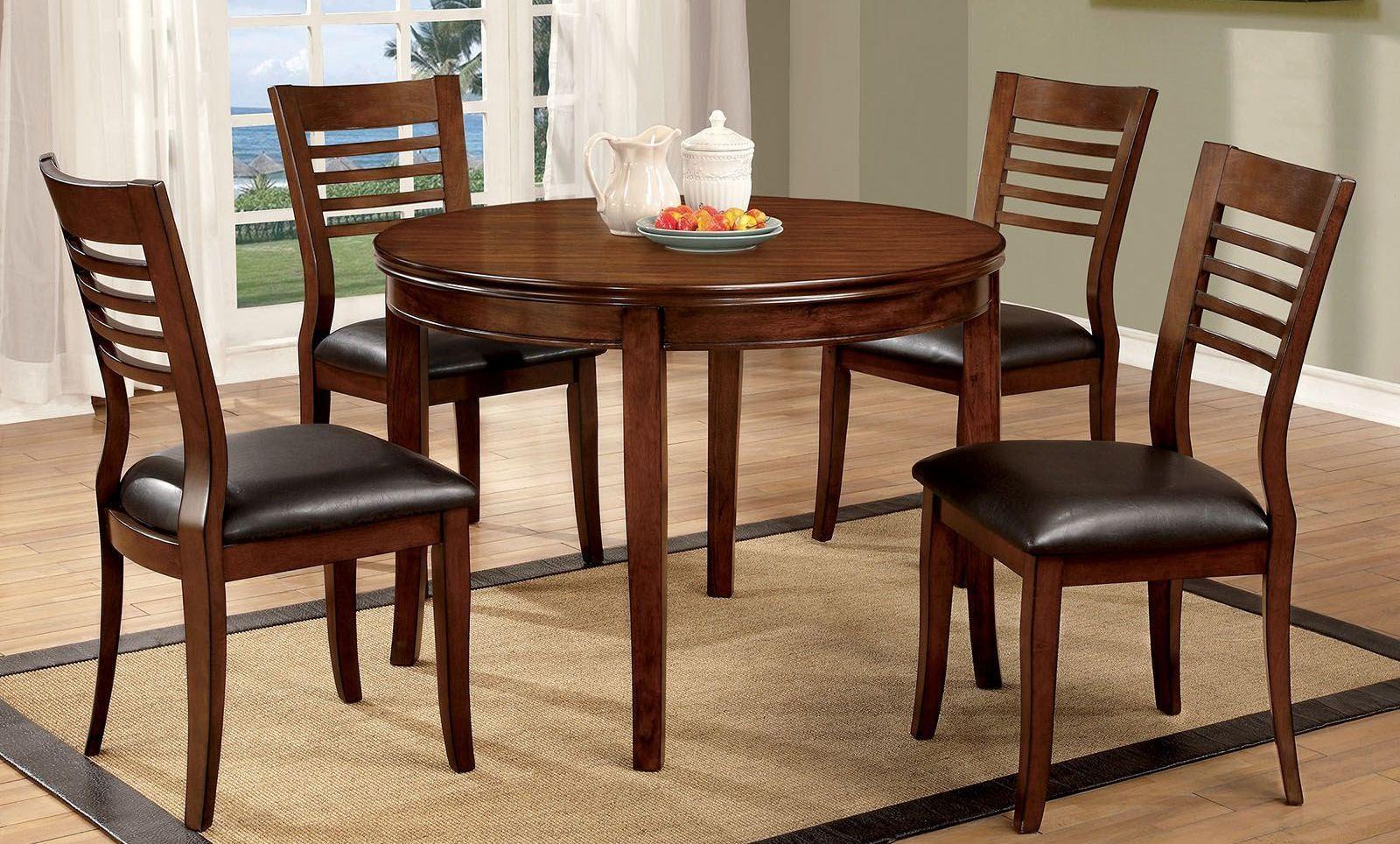Dwight i medium oak round dining room set from furniture for Medium dining room ideas
