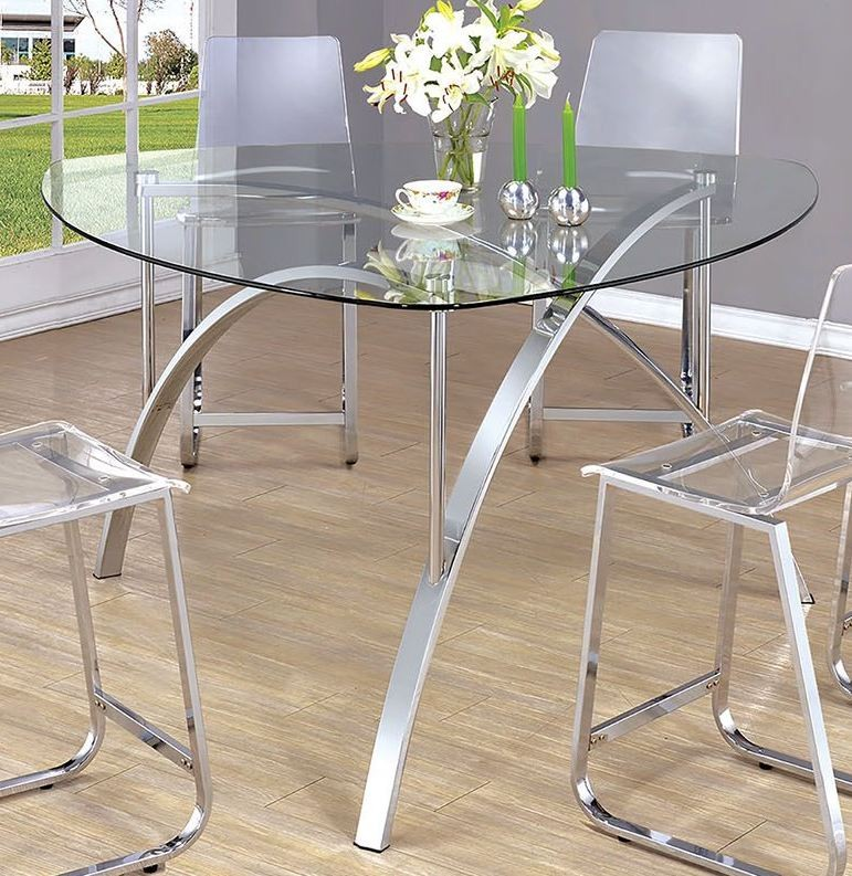 Mauna Tempered Glass Top Round Dining Table Set: Zora Chrome Triangle Tempered Glass Top Dining Table