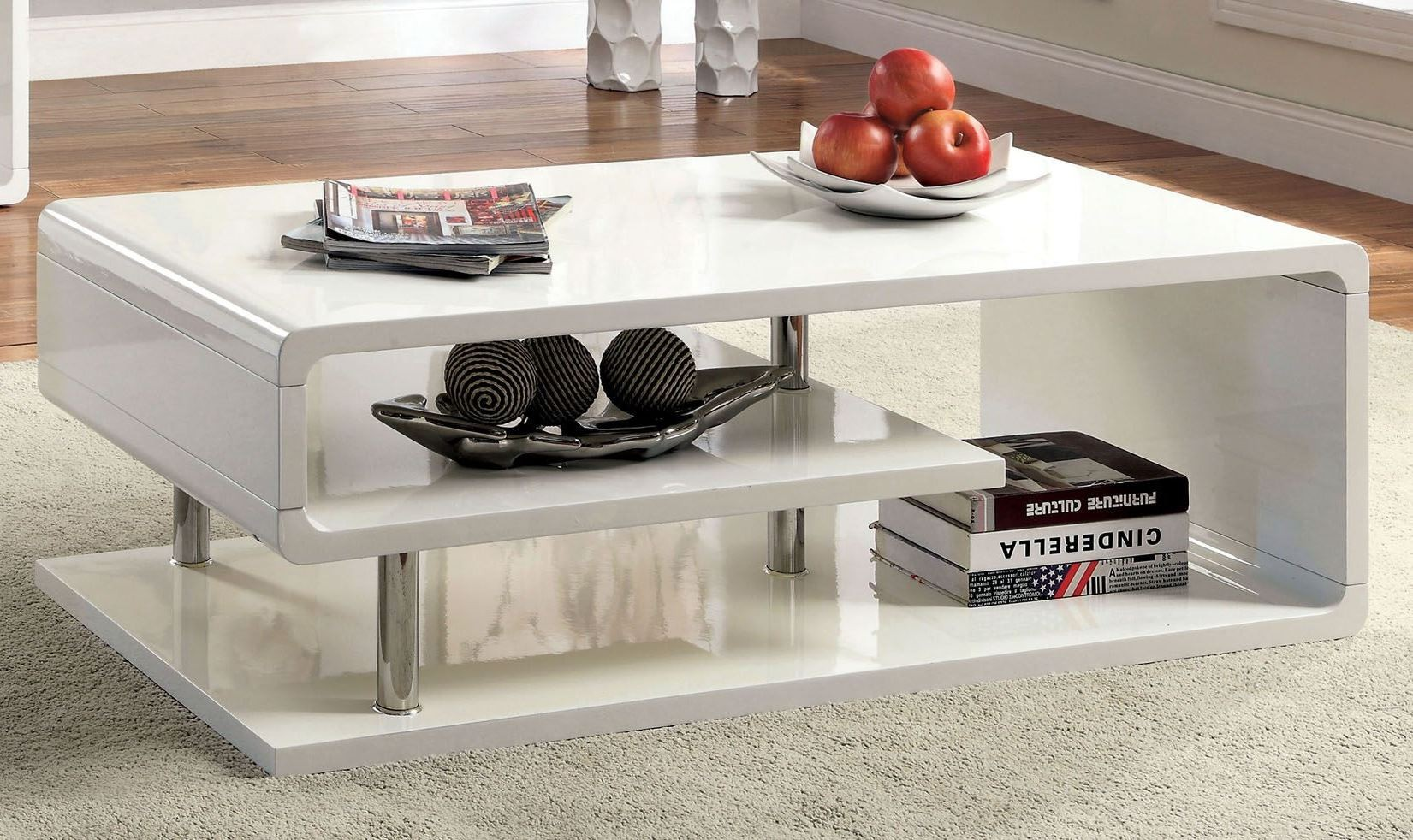 Ninove i white high gloss coffee table from furniture of america ninove i white high gloss coffee table geotapseo Image collections