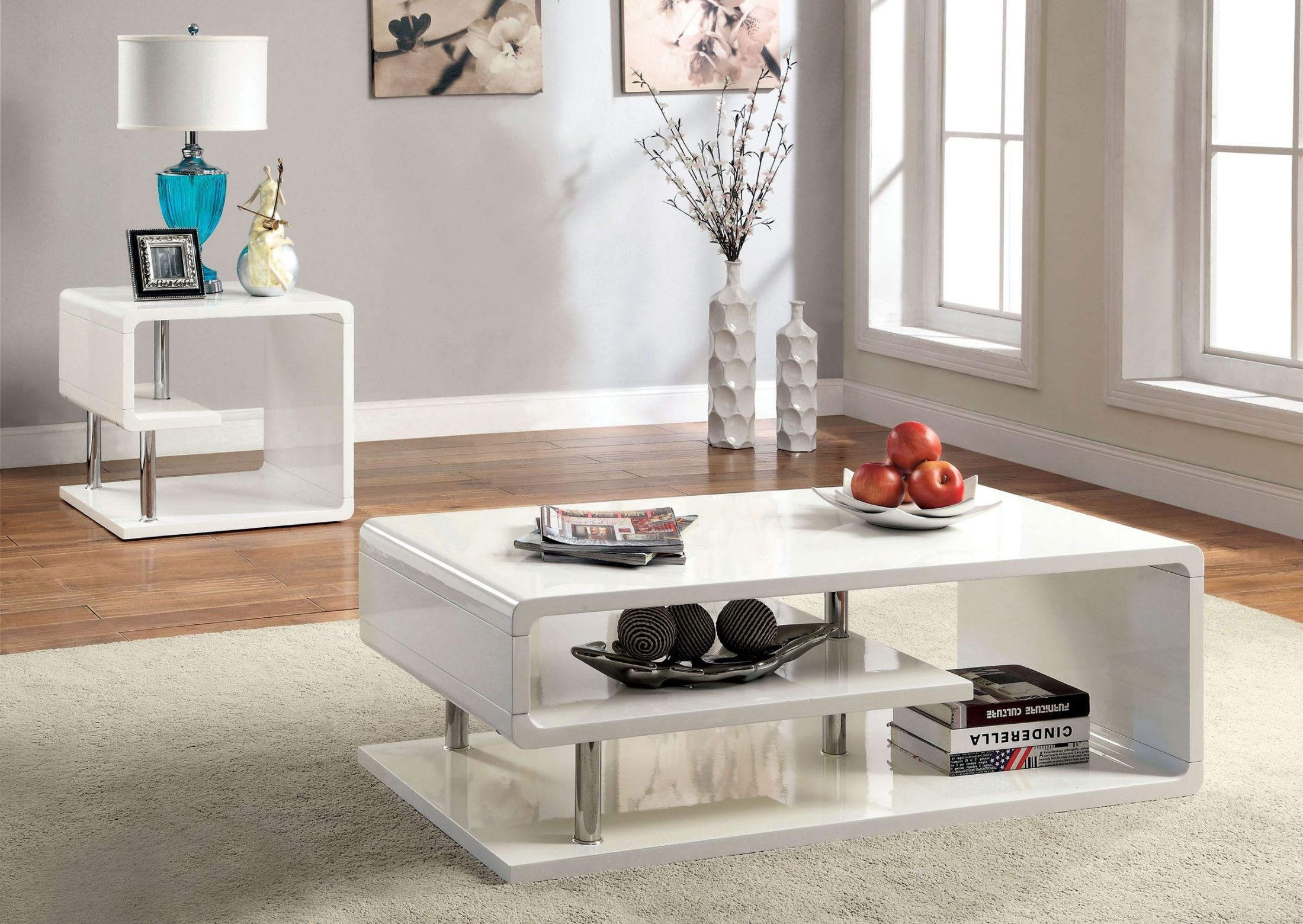 ninove i white high gloss coffee table from furniture of america