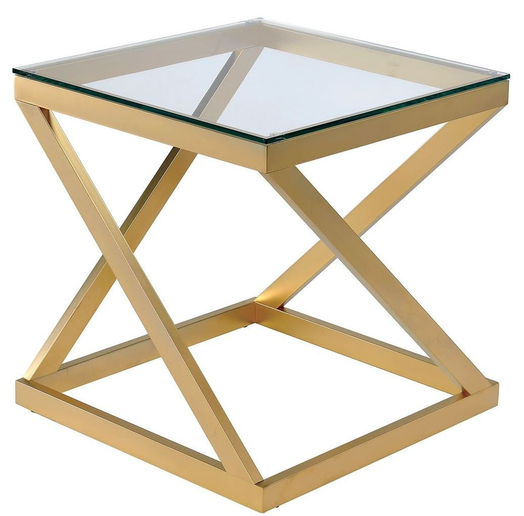 Zoya Gold End Table From Furniture Of America Coleman Furniture