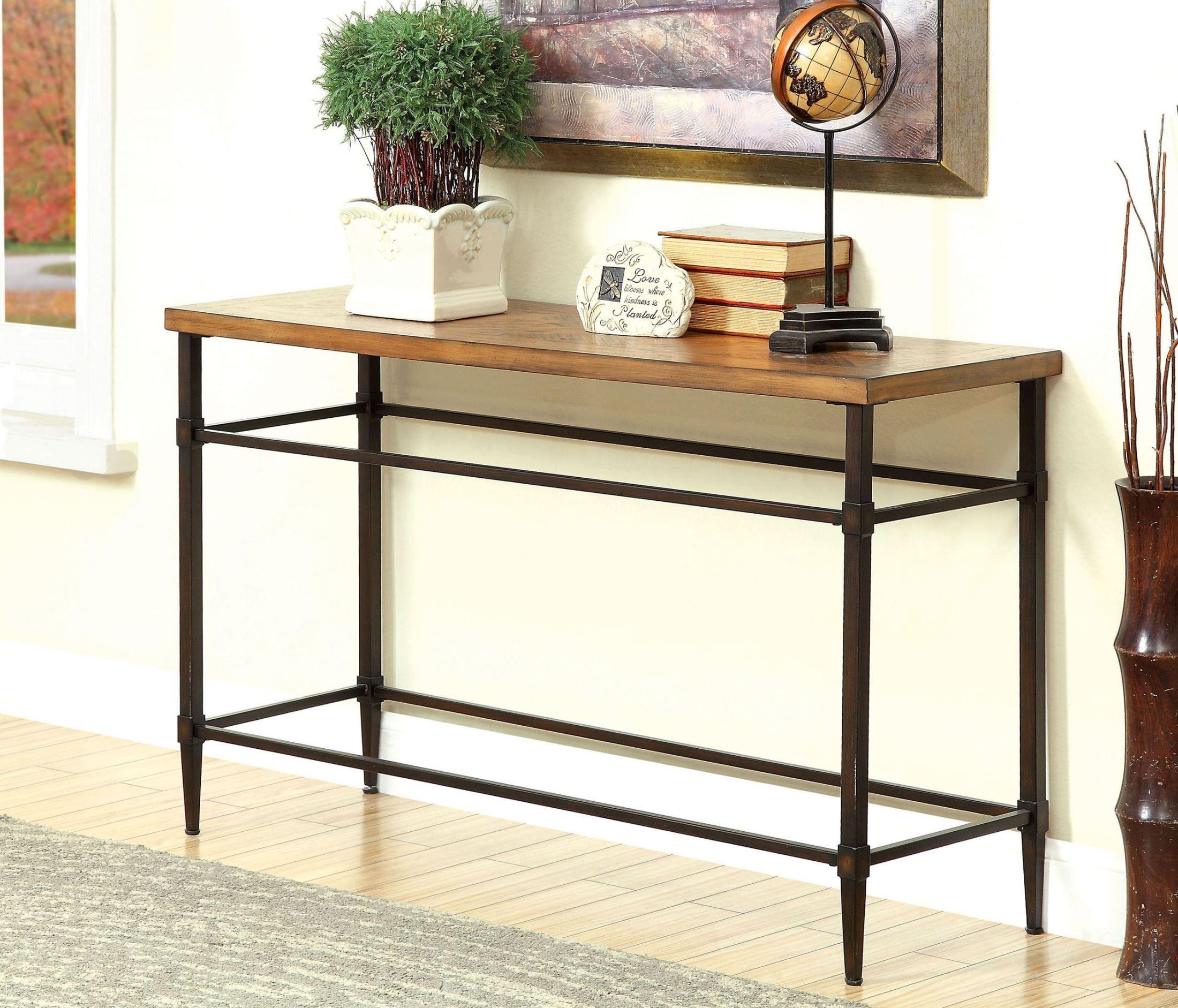 Herrick light oak sofa table from furniture of america