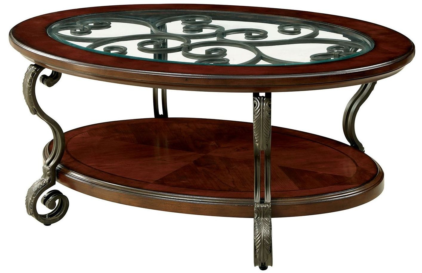 May Brown Cherry Coffee Table From Furniture Of America Coleman Furniture