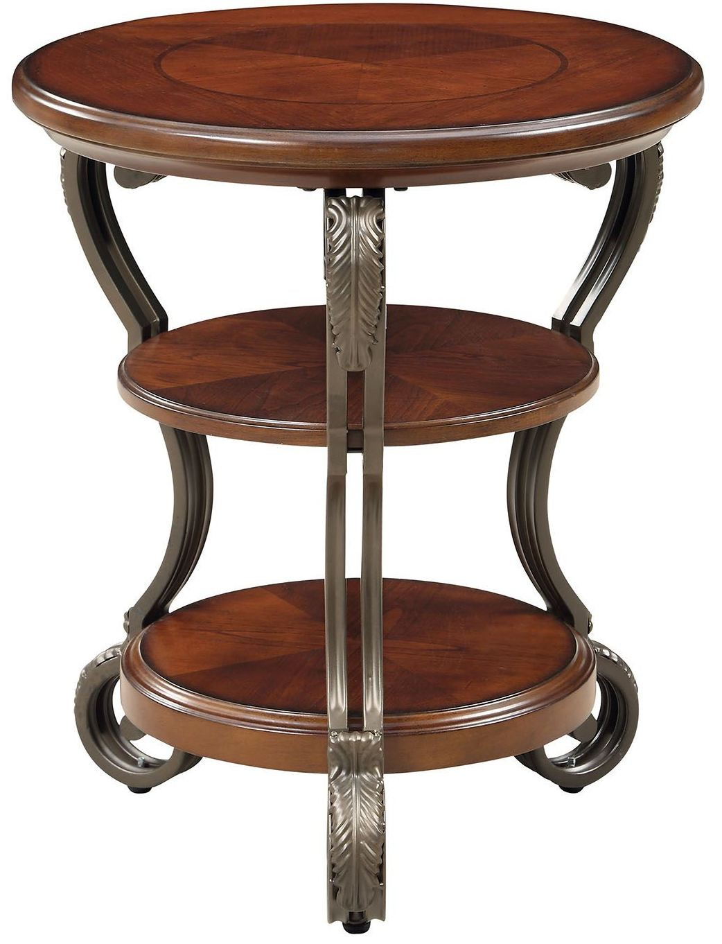 May brown cherry side table from furniture of america