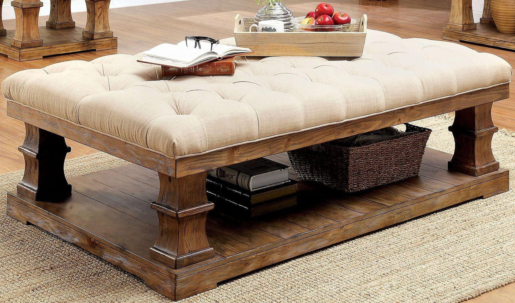 Granard Natural Tone Cushion Top Coffee Table From Furniture Of America Coleman Furniture