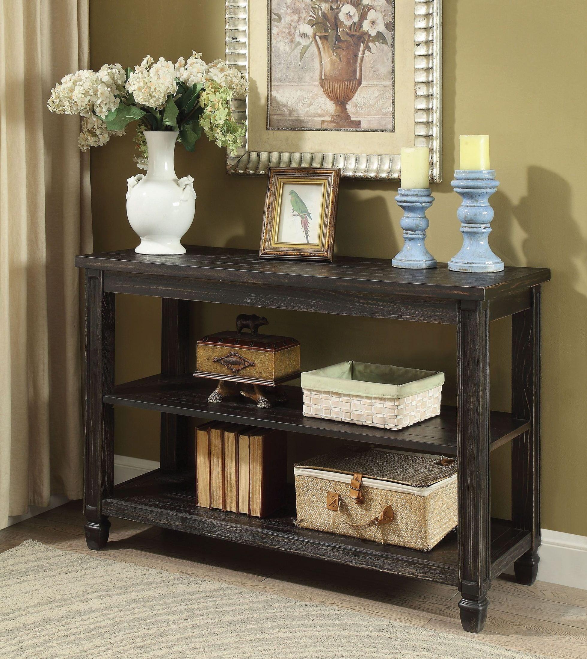 Suzette Antique Black Sofa Table From Furniture Of America  # Muebles Luan Arbo