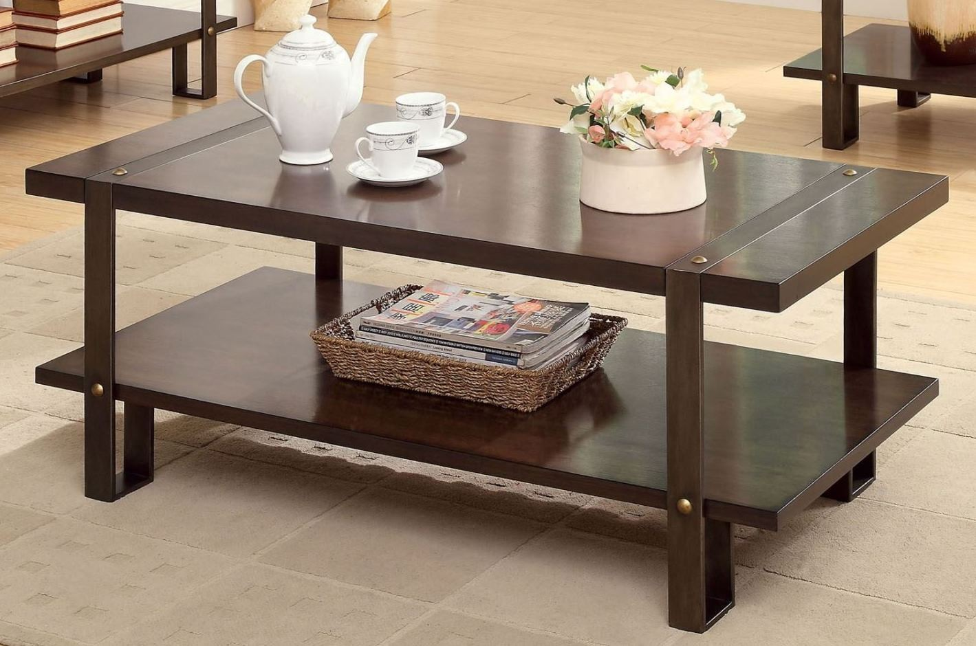 Arbor Dark Oak Coffee Table From Furniture Of America Coleman Furniture