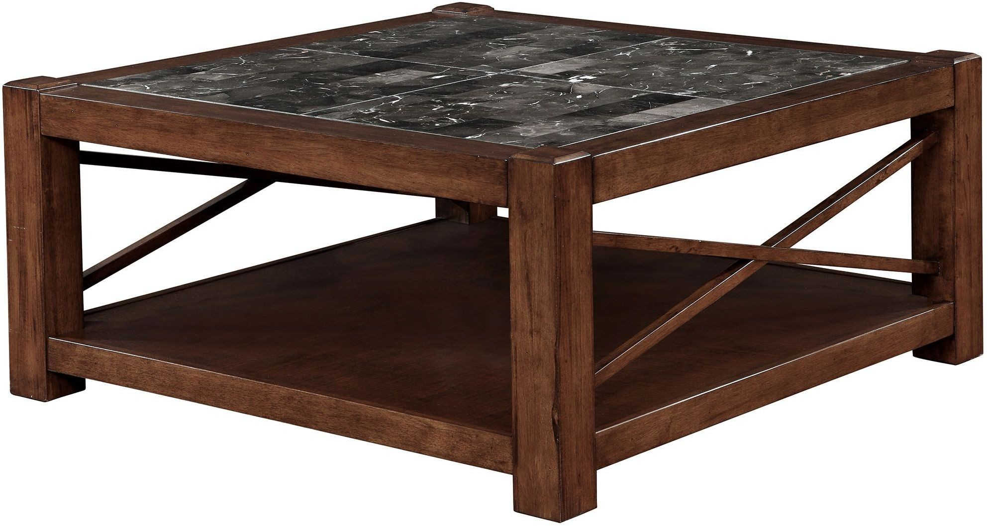 Rani brown cherry square coffee table from furniture of america coleman furniture Coffee table cherry
