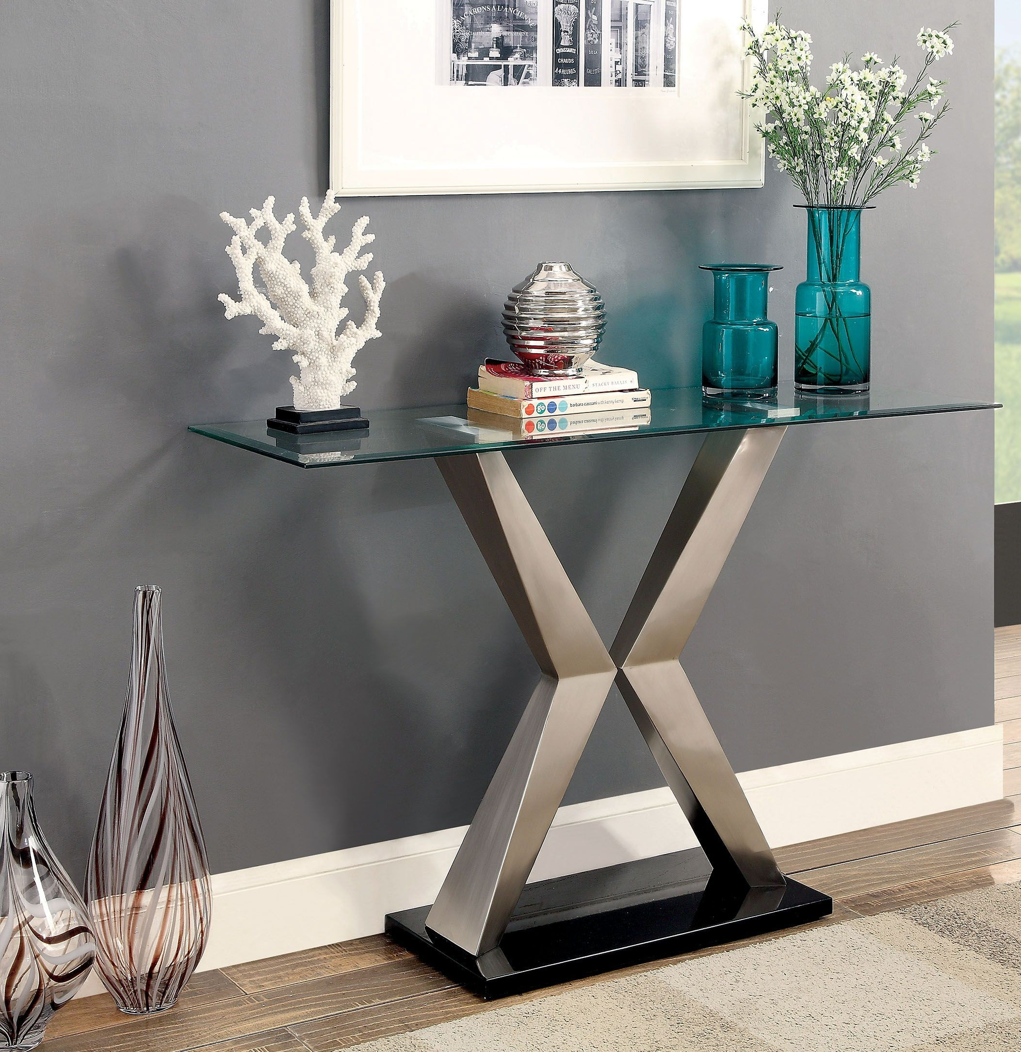 Indira Black Sofa Table From Furniture Of America Coleman Furniture # Muebles Luan Arbo