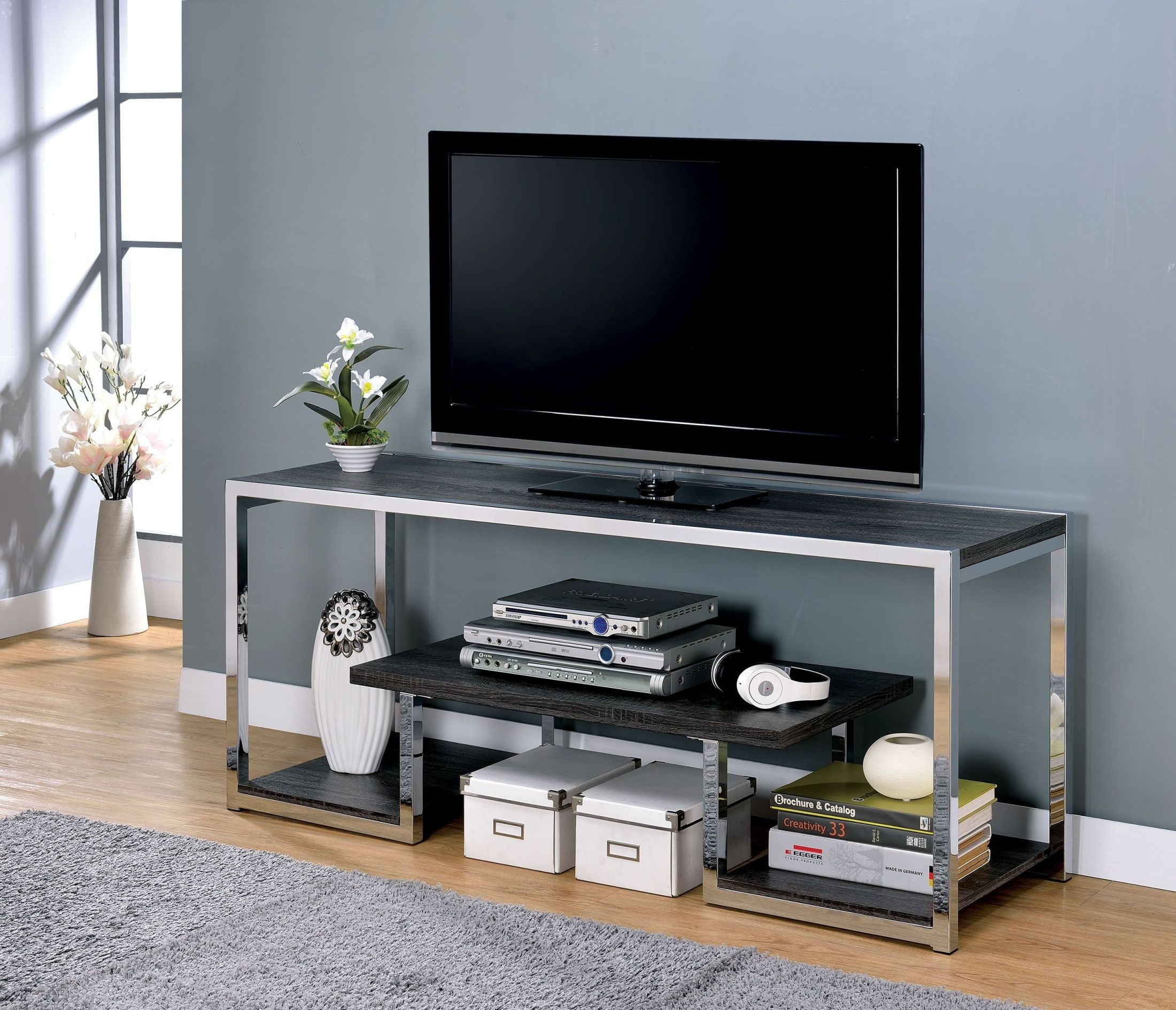 Lier Chrome 72 Quot Tv Stand From Furniture Of America