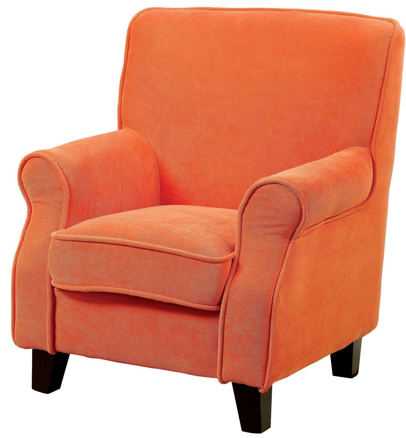Greta orange kids chair from furniture of america for Orange kids chair