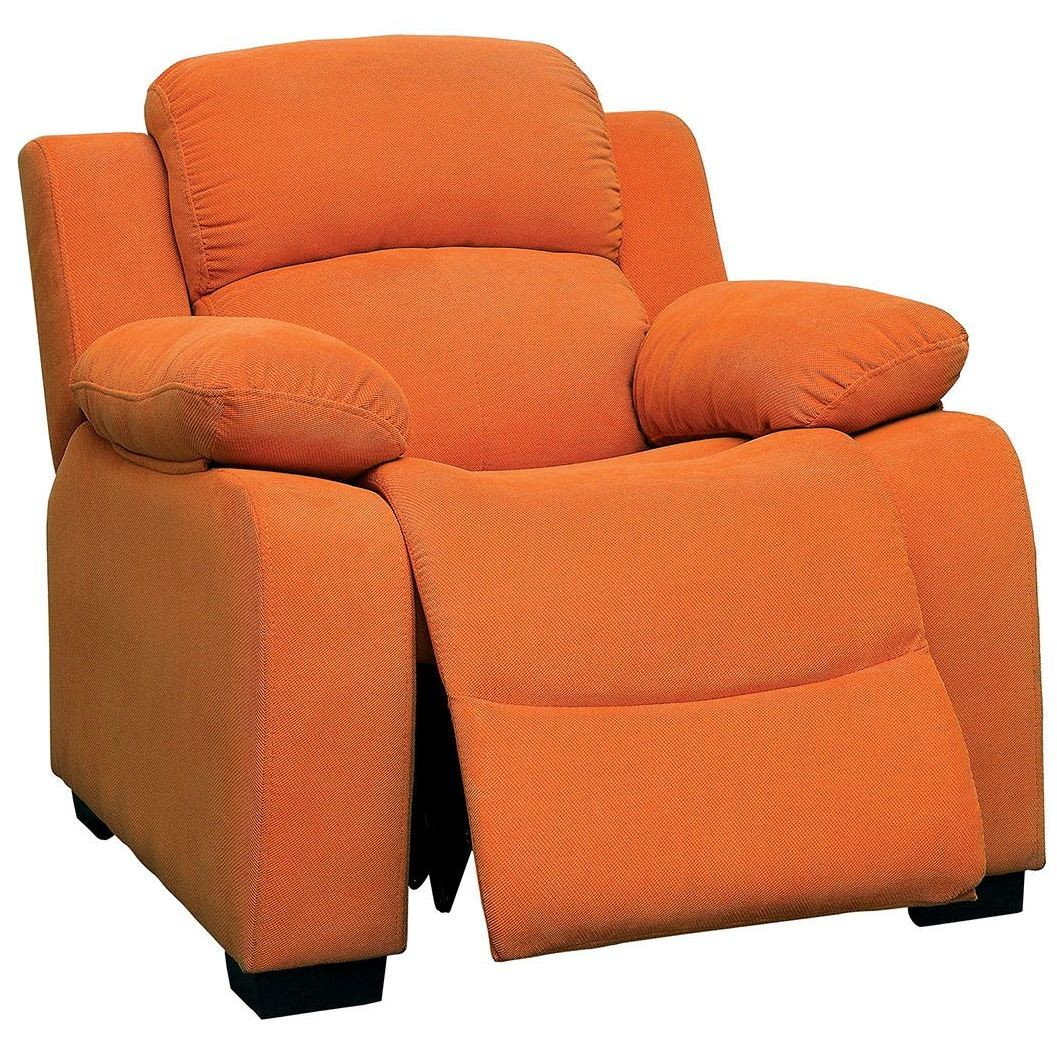 Connie orange kids recliner from furniture of america for Orange kids chair