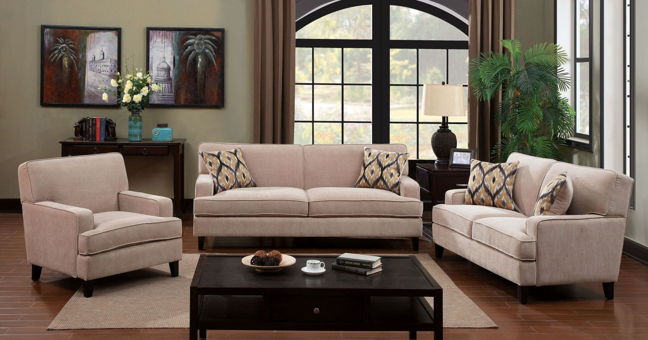 francis ivory fabric living room set from furniture of america cm6036iv sf coleman furniture. Black Bedroom Furniture Sets. Home Design Ideas