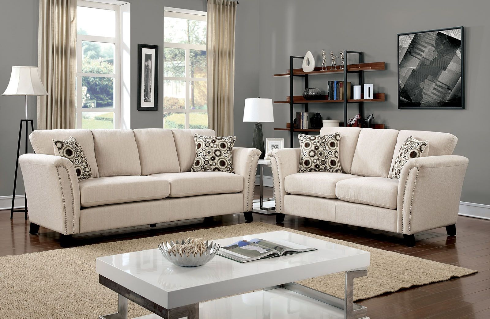 campbell ivory living room set from furniture of america coleman furniture. Black Bedroom Furniture Sets. Home Design Ideas