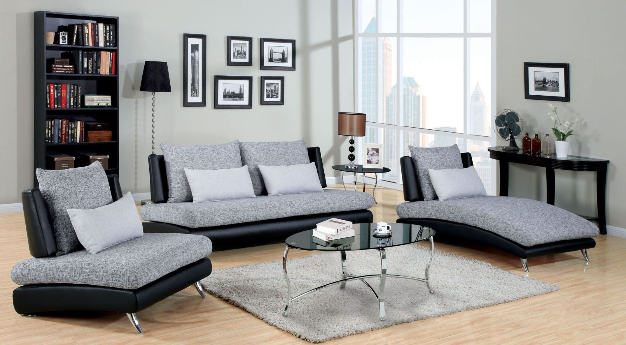 Saillon Fabric and Leatherette Living Room Set from Furniture of