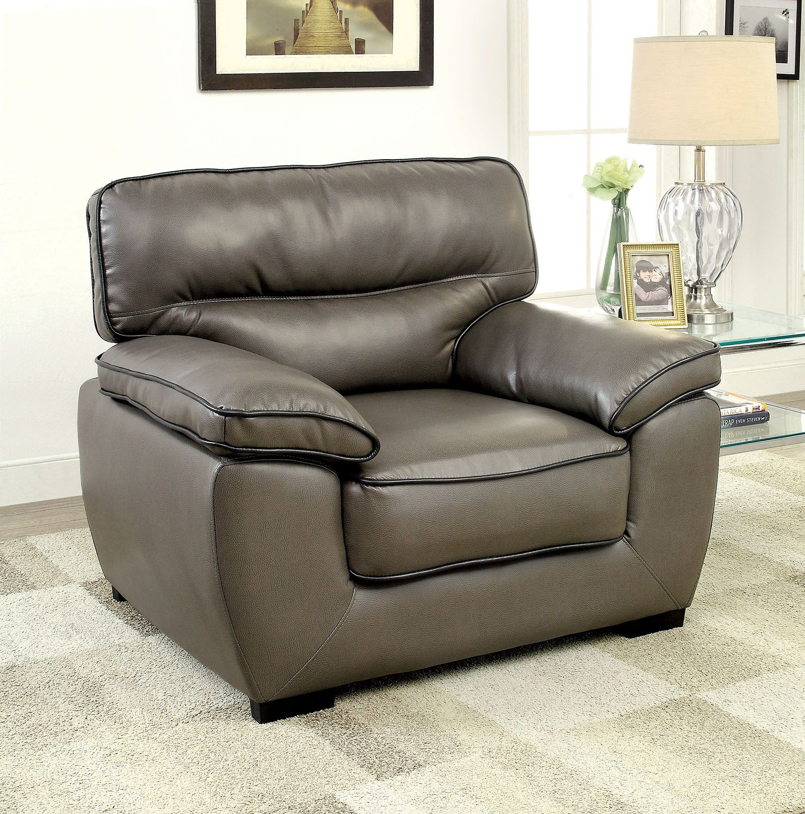 faux leather living room furniture lennox gray shined faux leather living room set cm6126 s 21775