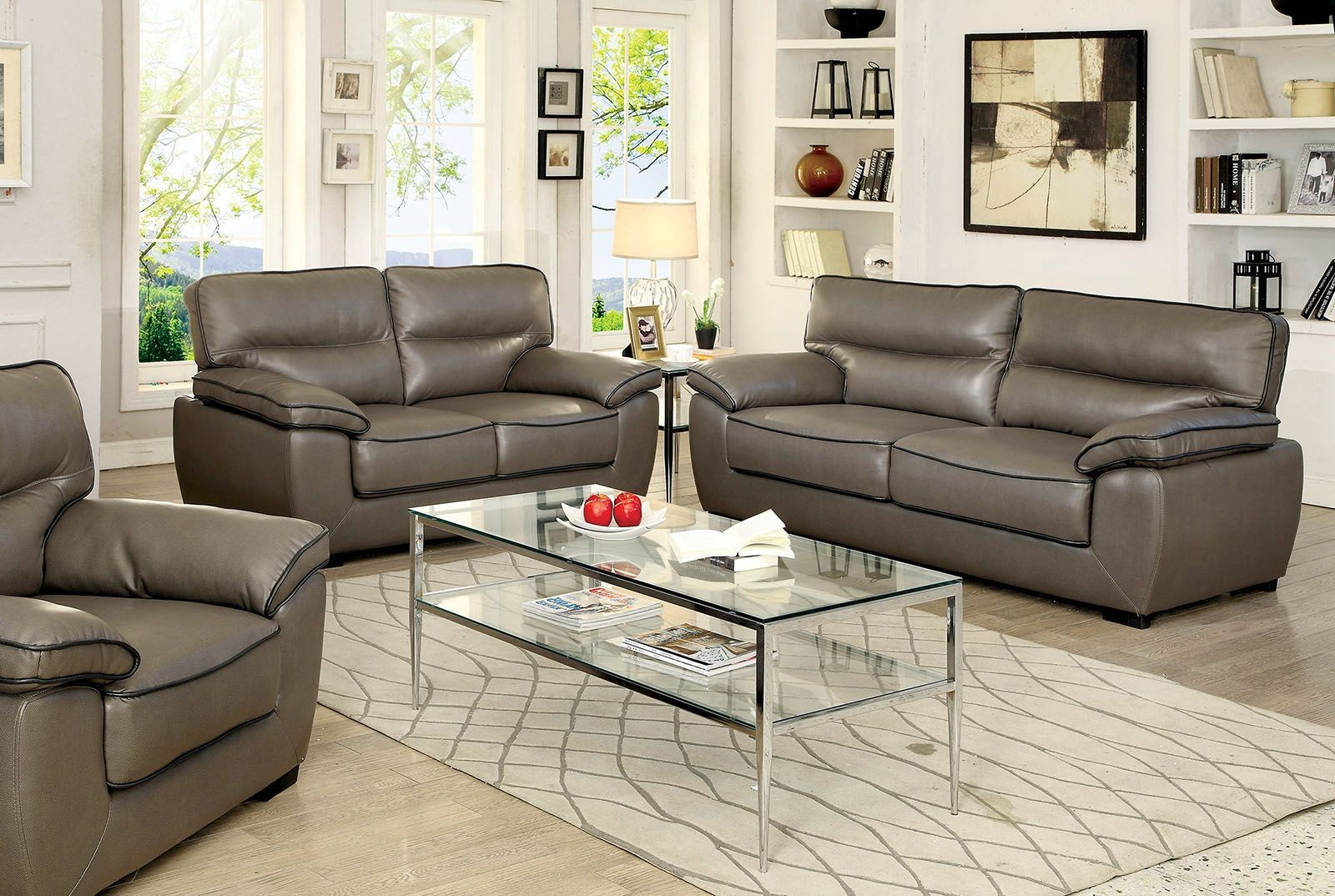 Lennox gray shined faux leather living room set from for Faux leather living room furniture