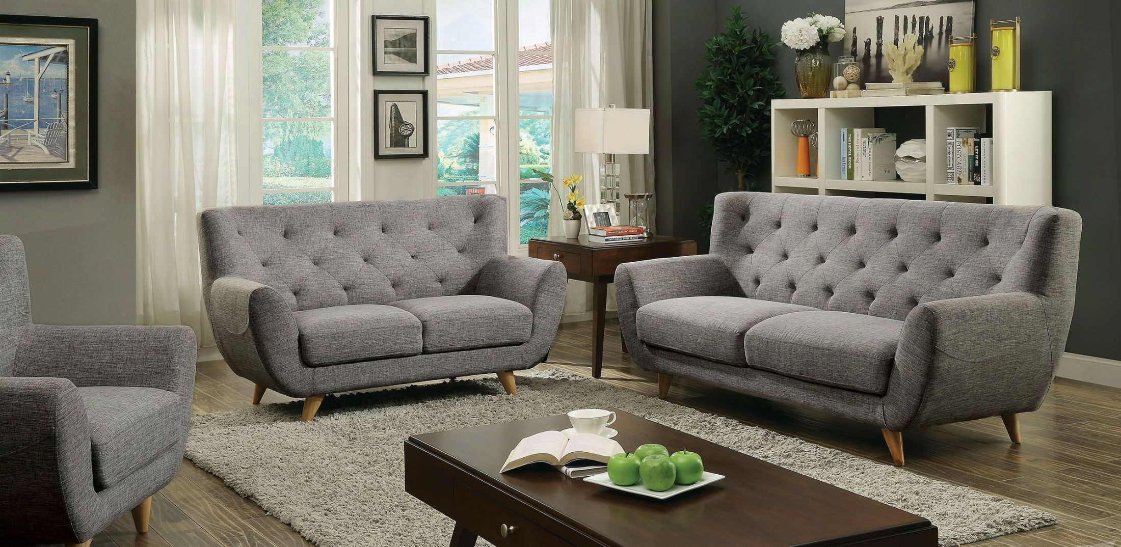 Carin light gray living room set from furniture of america for M s living room furniture