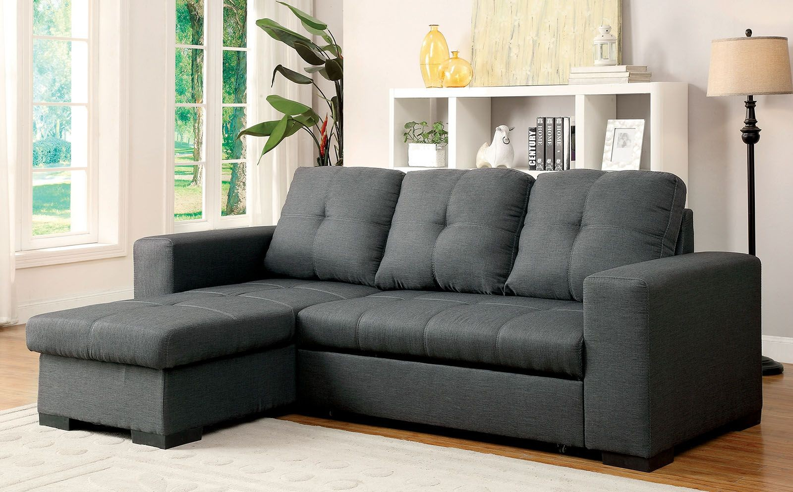 Denton Gray Fabric Sectional From Furniture Of America
