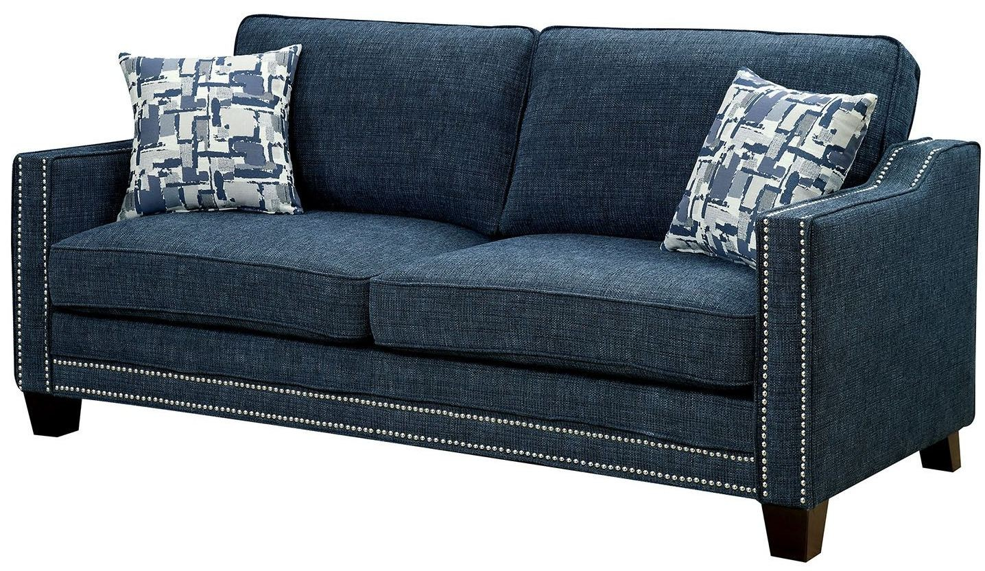 Kerian Blue Chenille Sofa From Furniture Of America Coleman Furniture