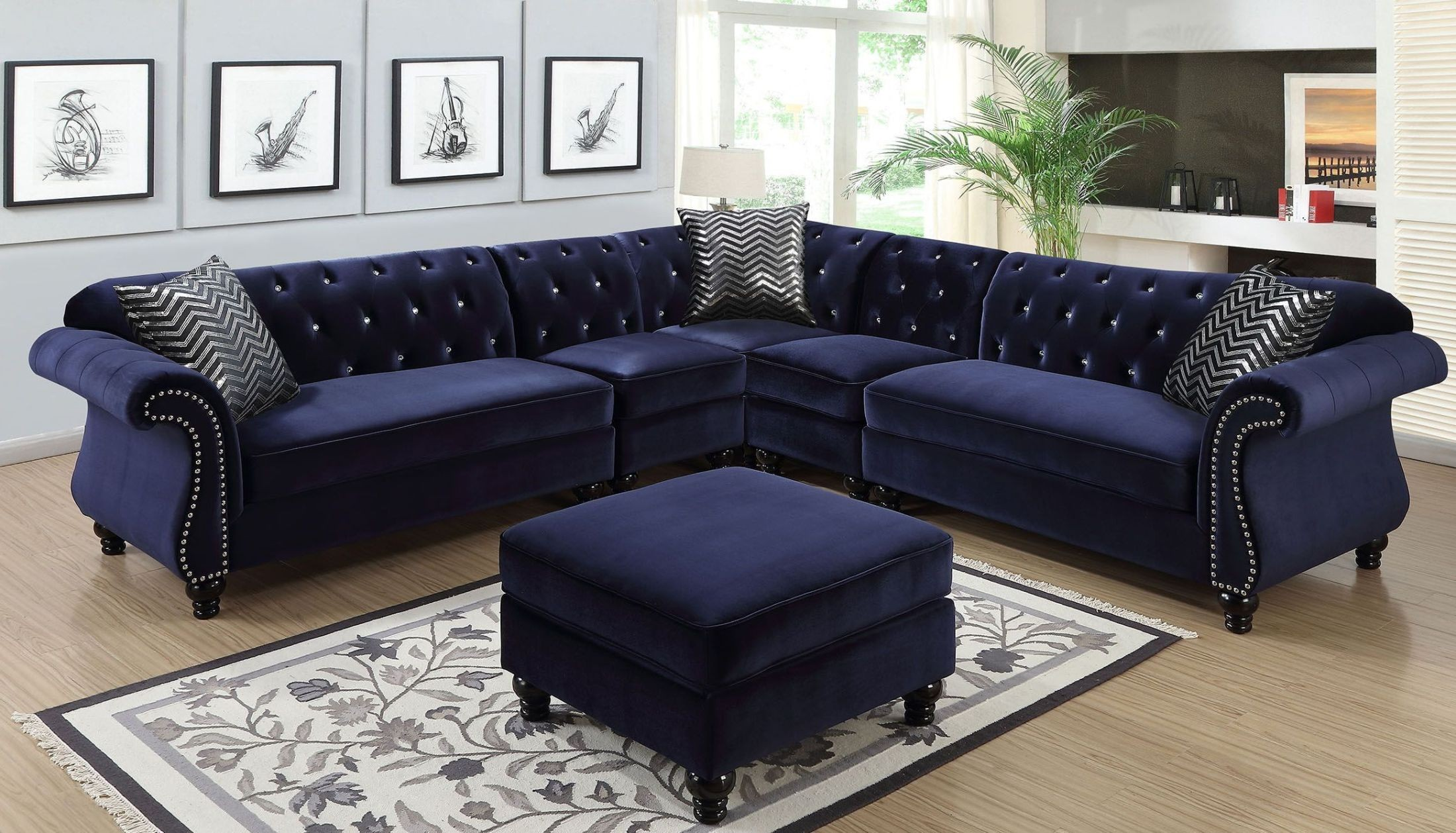 jolanda ii blue sectional from furniture of america coleman furniture. Black Bedroom Furniture Sets. Home Design Ideas