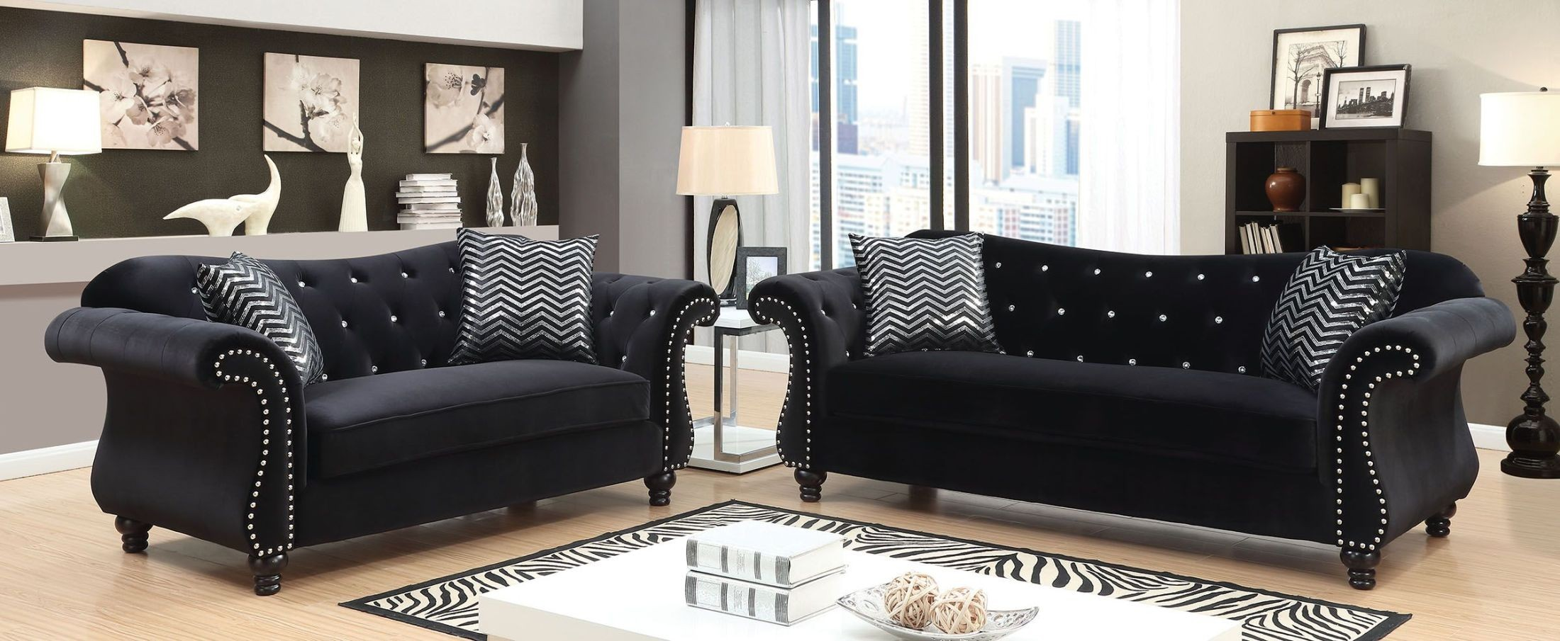 Jolanda I Black Living Room Set From Furniture Of America