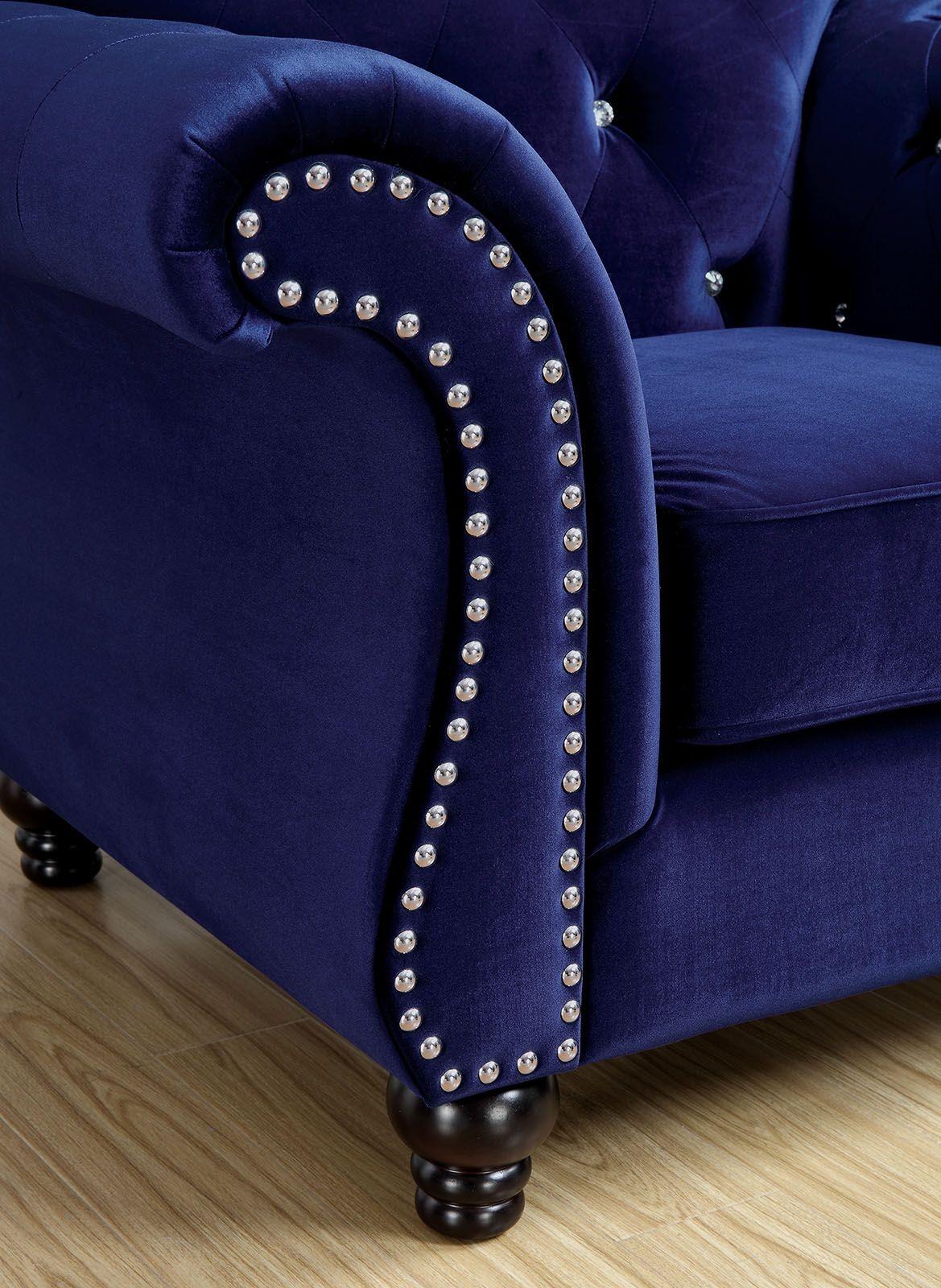 Clarke Fabric Sectional Sofa Living Room: Jolanda Blue Flannelette Fabric Sofa, CM6159BL-SF