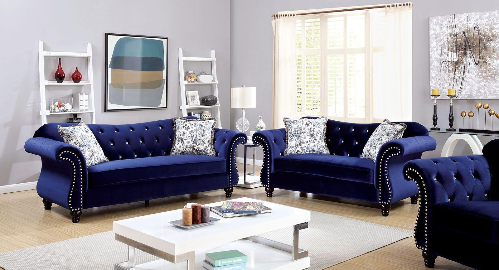 Jolanda Blue Flannelette Fabric Living Room Set From