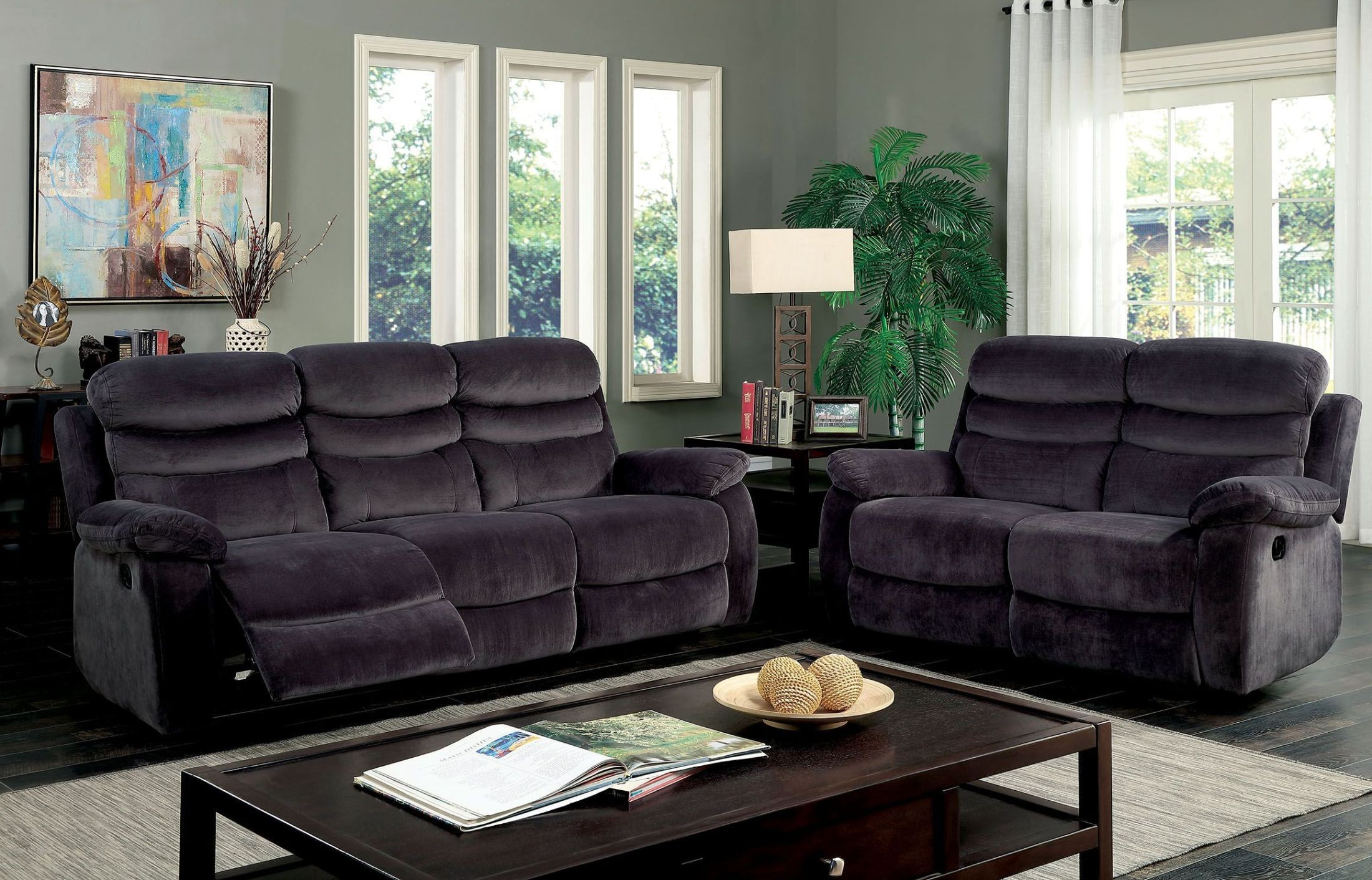 Leigh gray reclining living room set from furniture of for Grey front room furniture