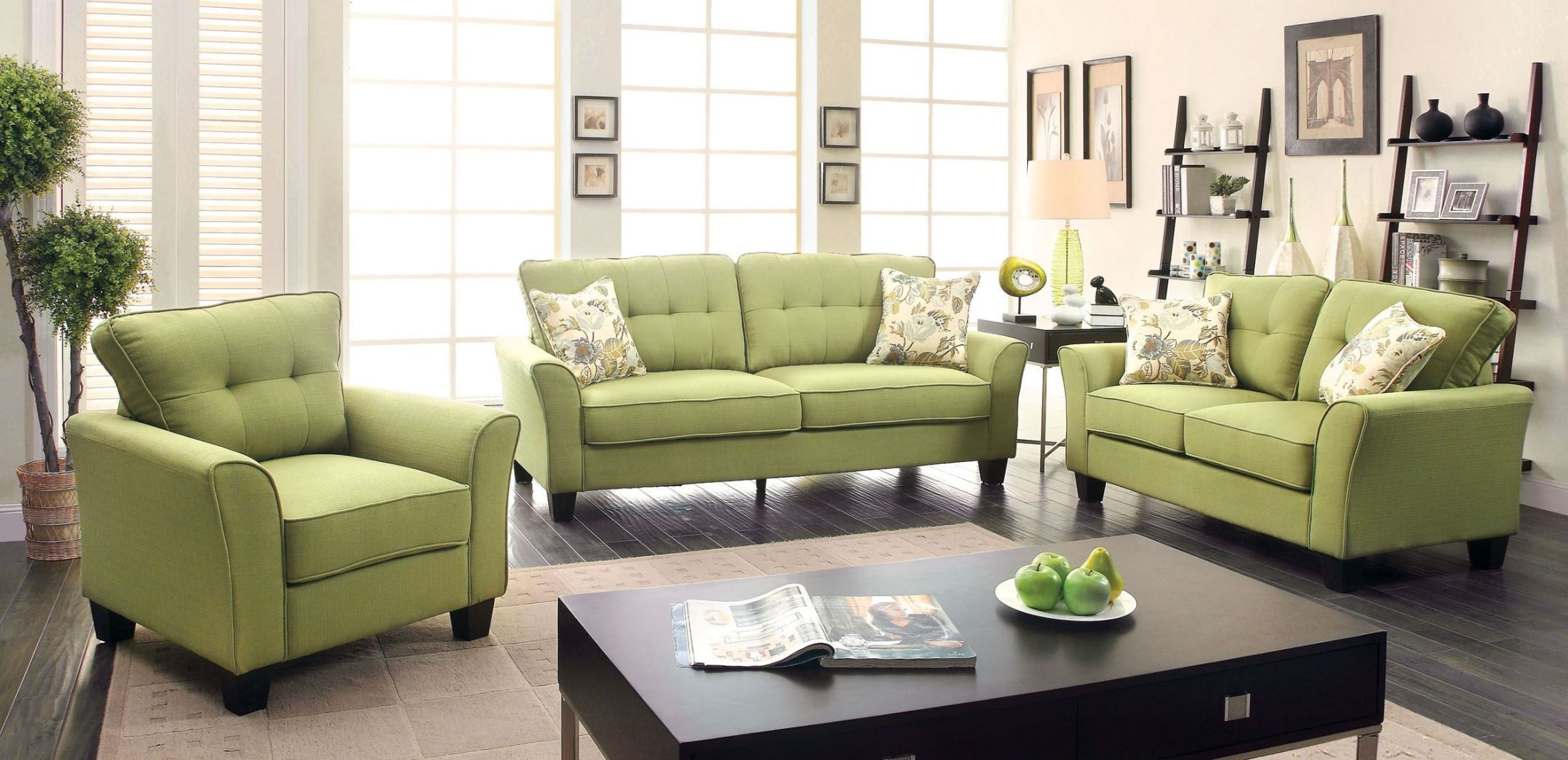 Claire green fabric sofa from furniture of america for Chair 7 alyeska