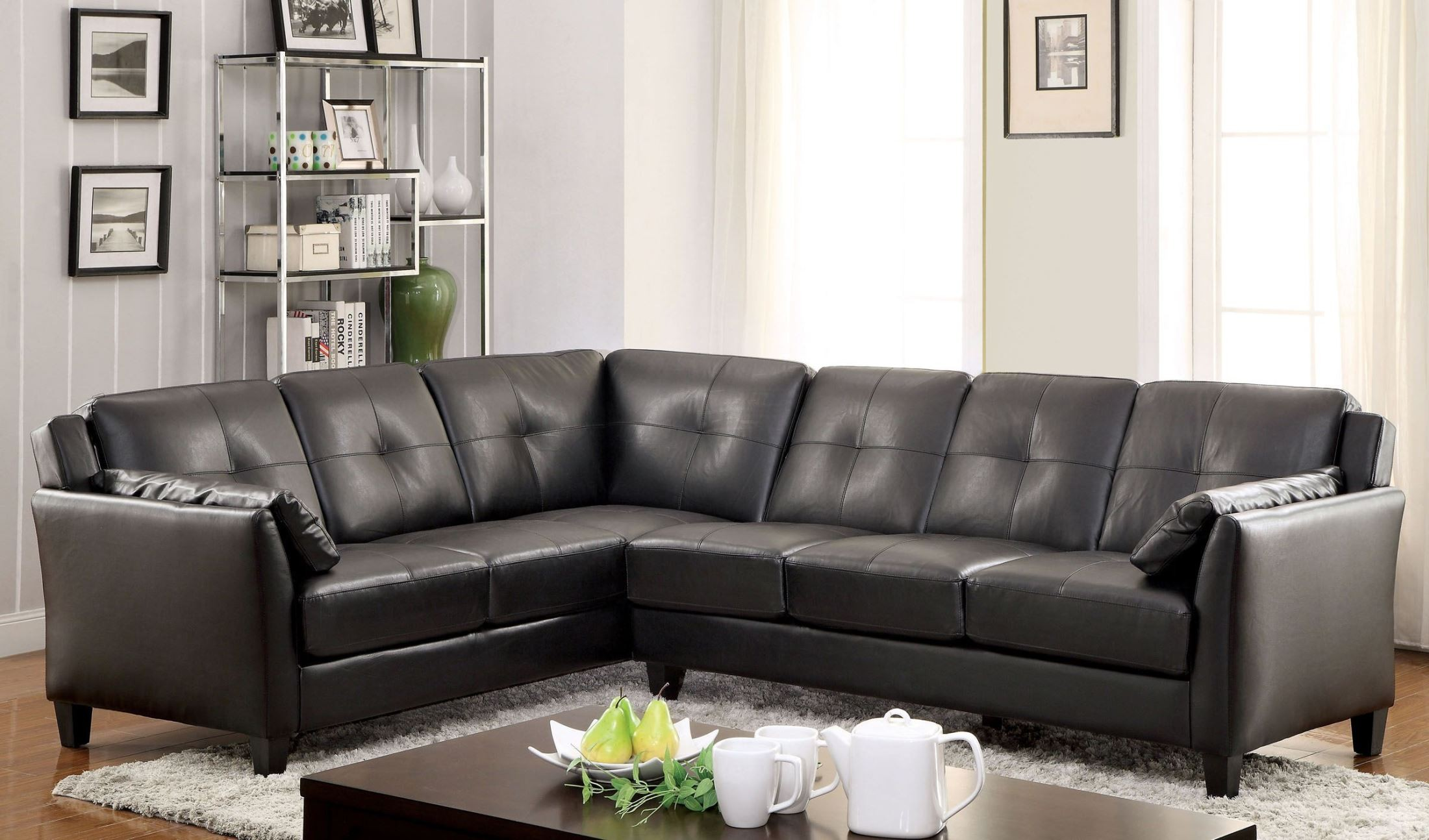 Peever Black Sectional from Furniture of America CM6268BK SET