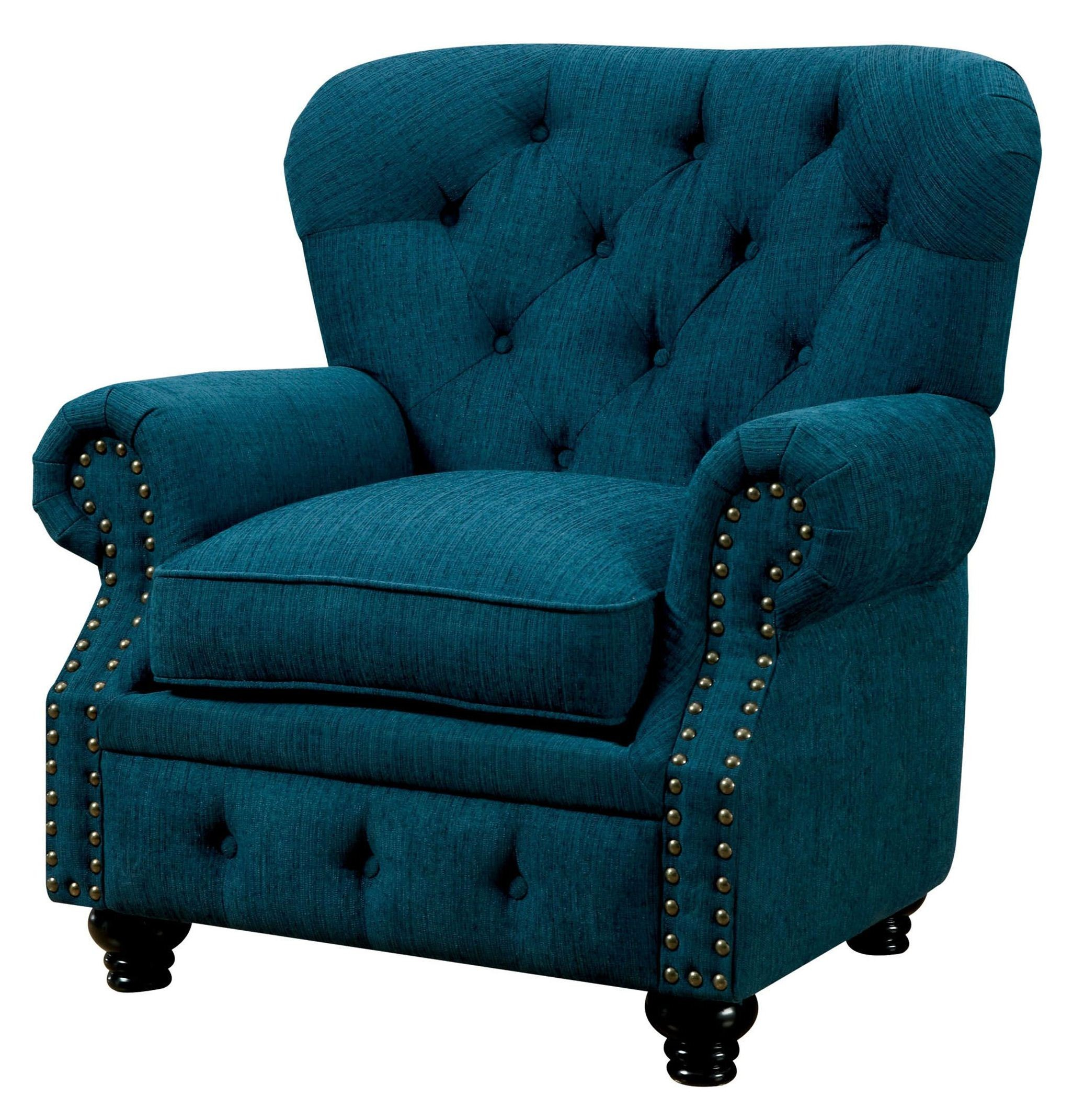 Stanford Dark Teal Fabric Chair From Furniture Of America