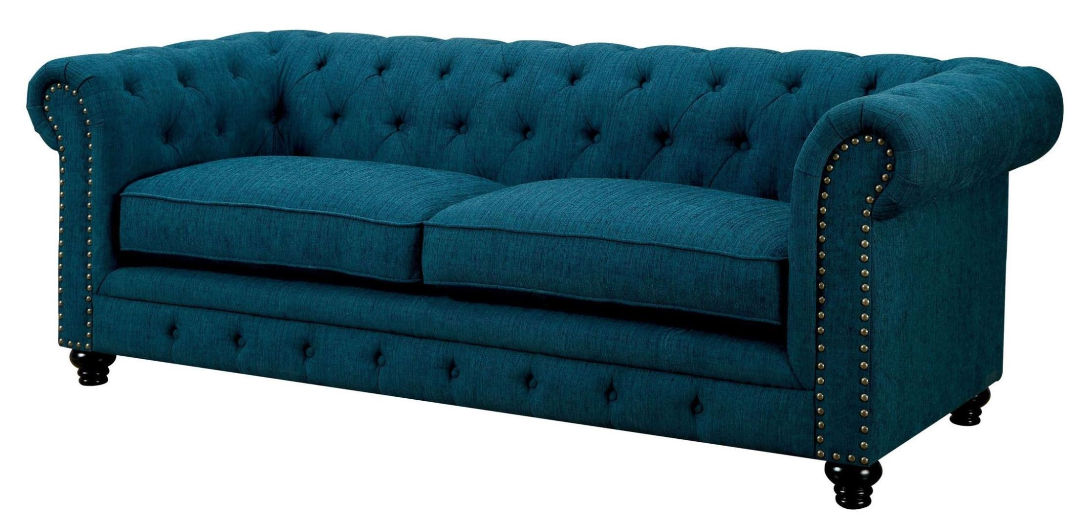 Stanford Dark Teal Fabric Sofa from Furniture of America CM6269TL