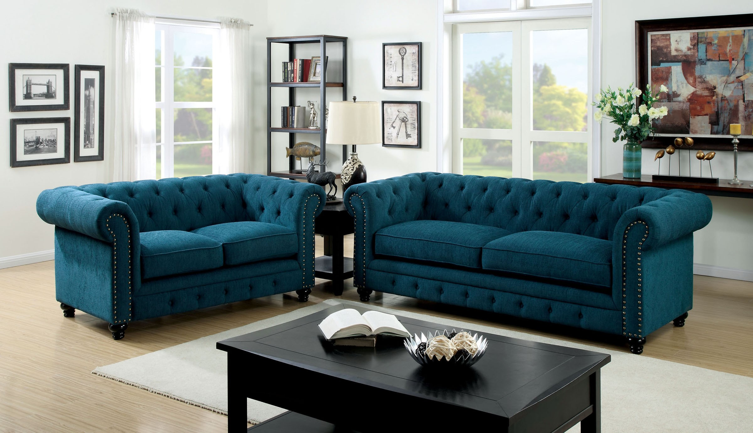 Stanford dark teal fabric living room set from furniture for Front room furniture sets
