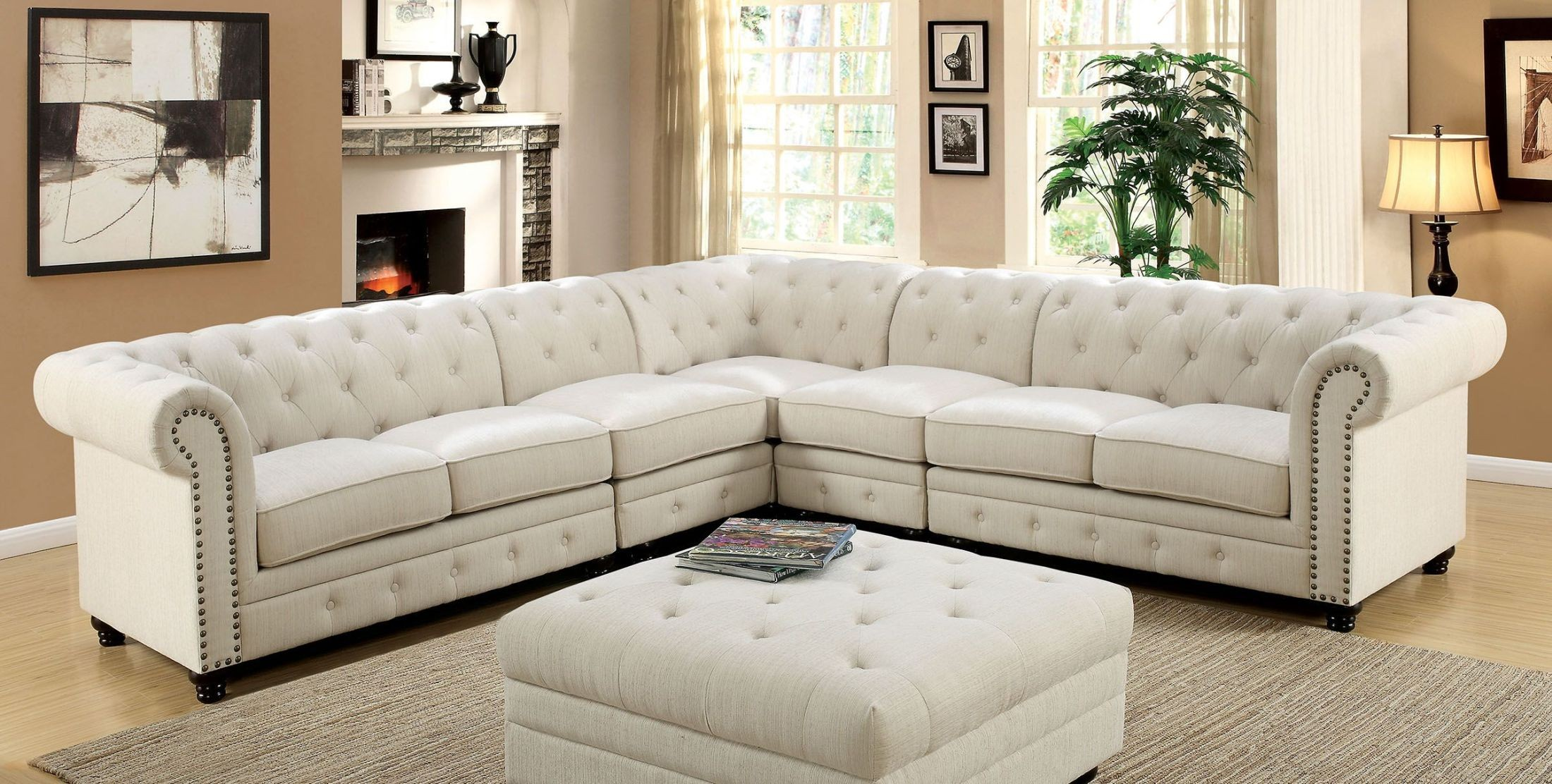 Stanford II Ivory Fabric Sectional from Furniture of America