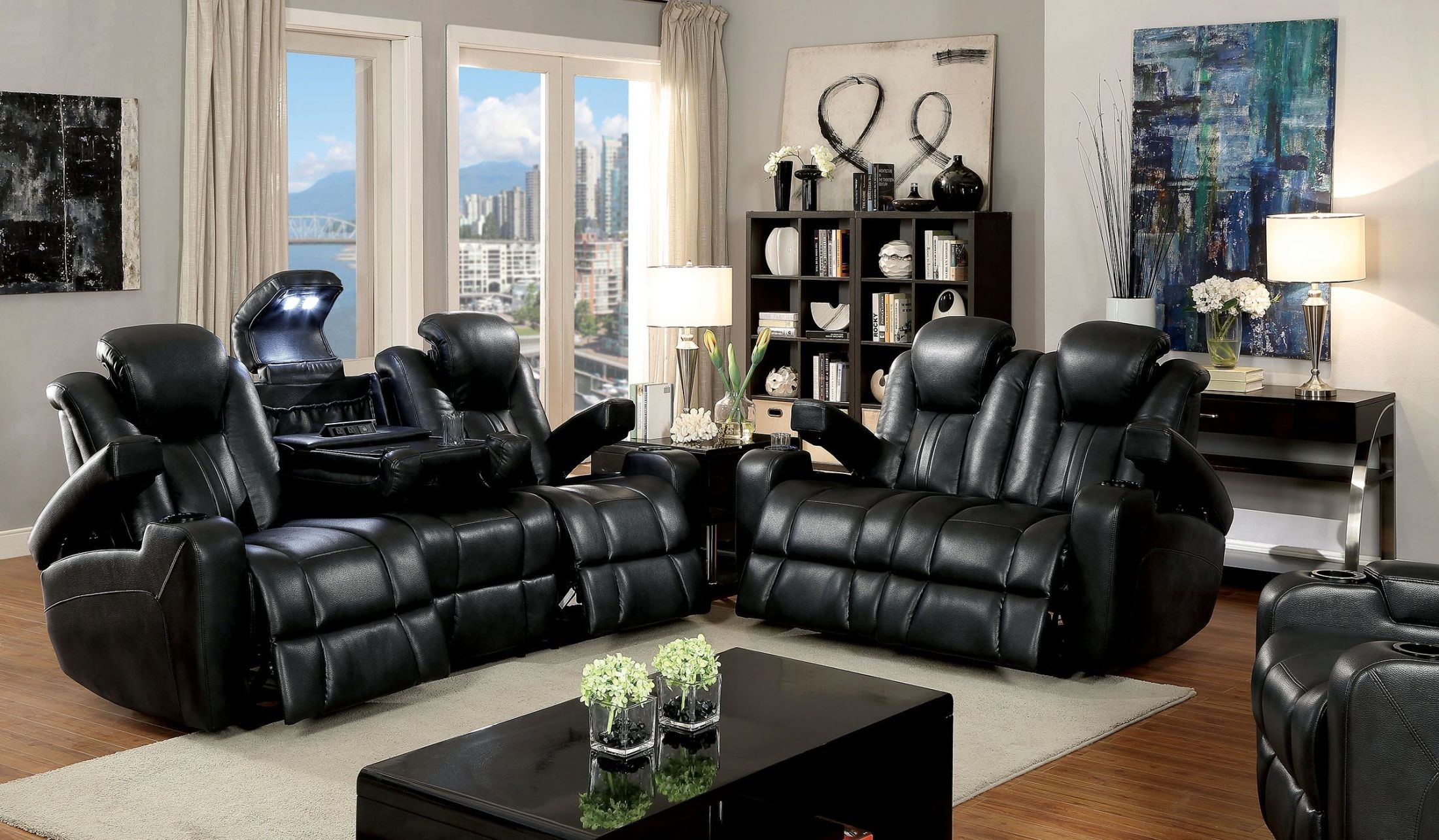 Zaurak Dark Gray Reclining Living Room Set From Furniture Of America Coleman Furniture