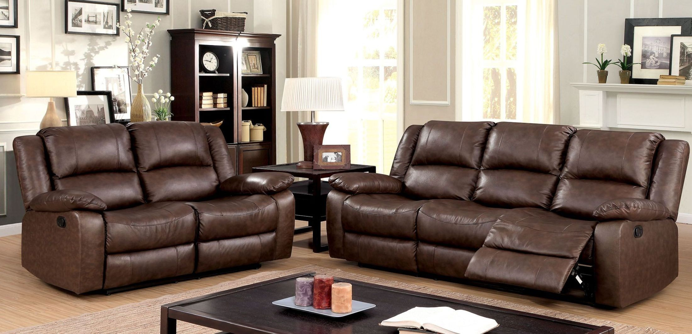 Kris brown sofa reclining living room set from furniture for Brown living room set