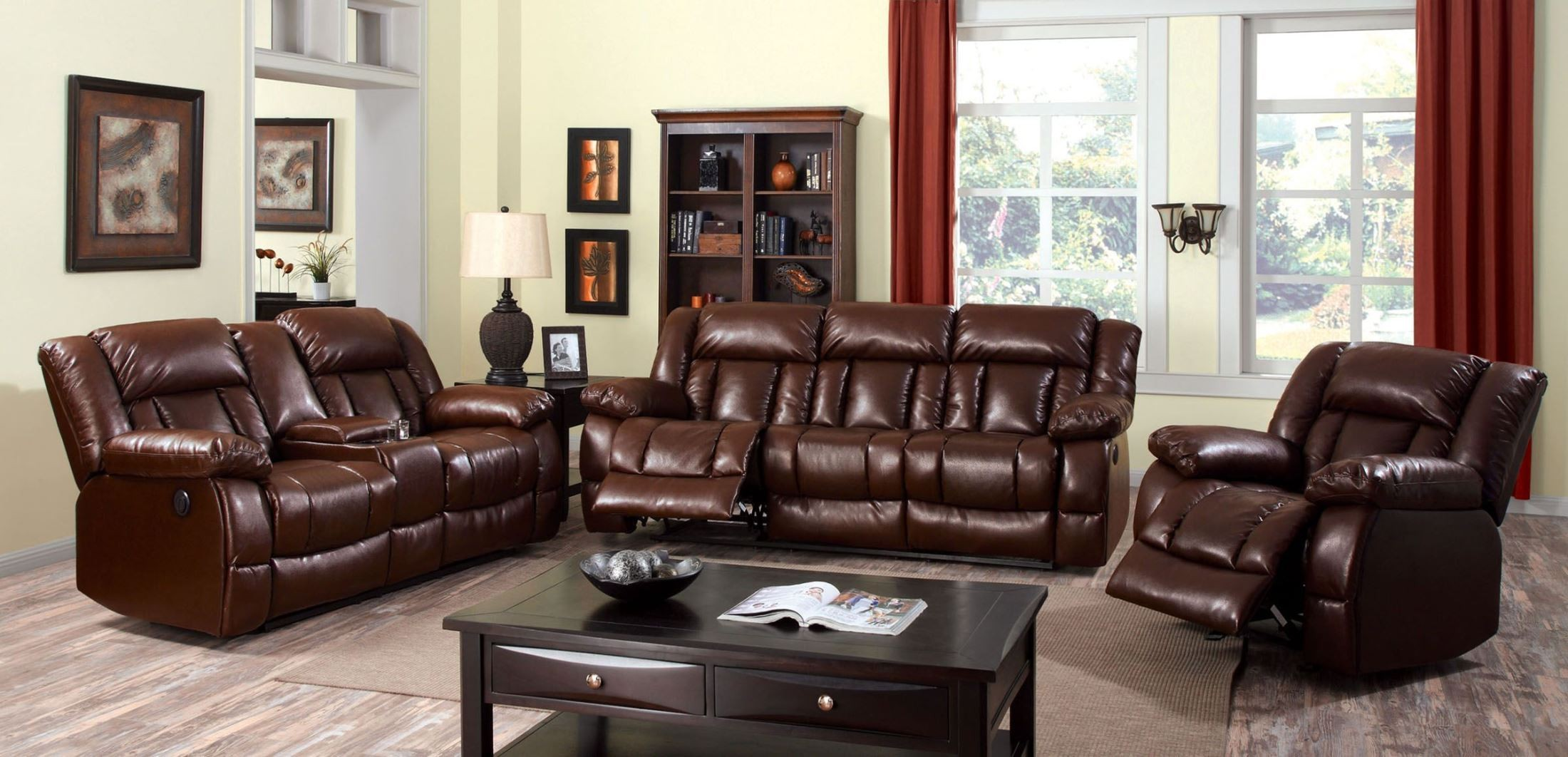 Wimbledon Brown Power Reclining Sofa from Furniture of America