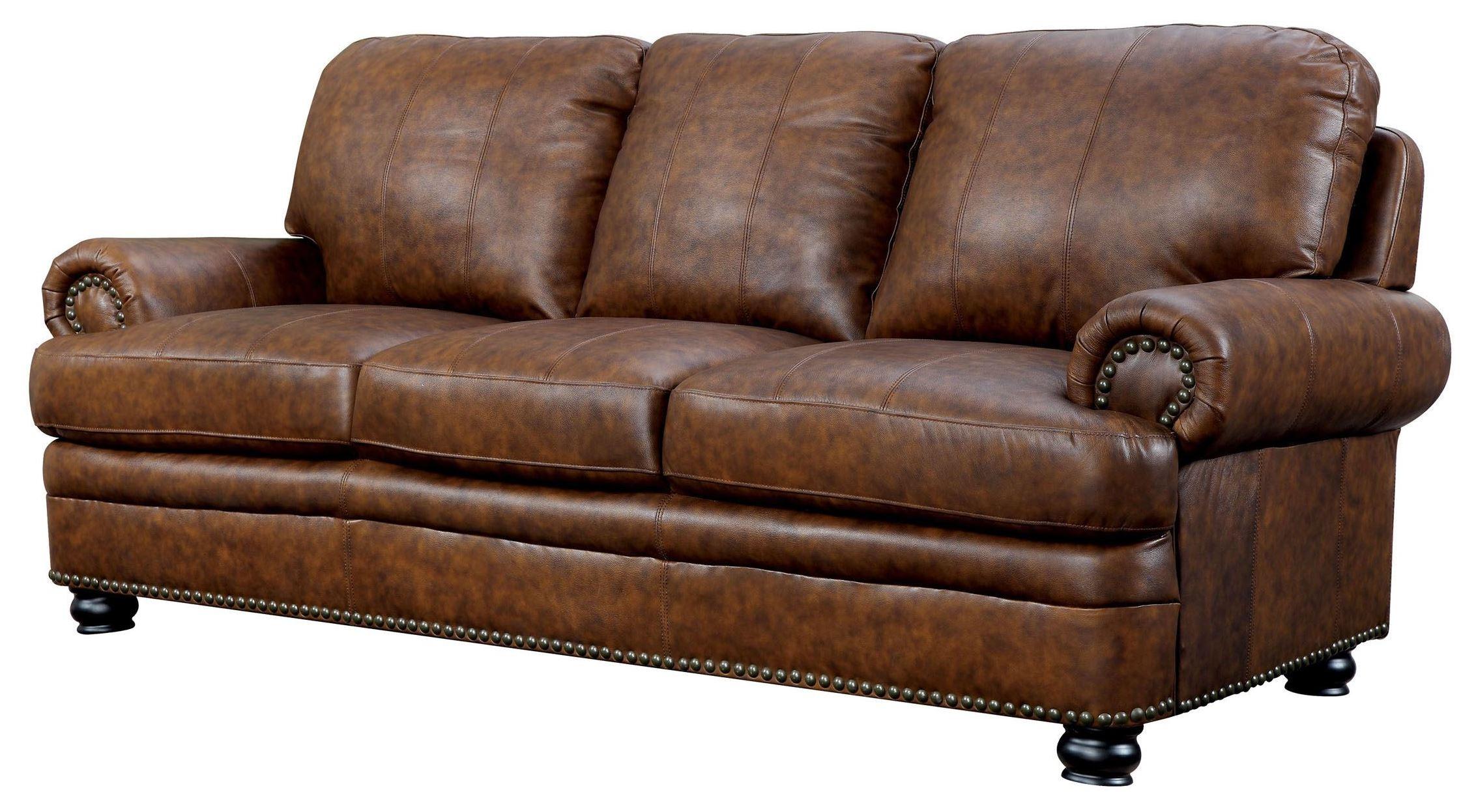 Living Room Furniture: Rheinhardt Top Grain Leather Living Room Set From