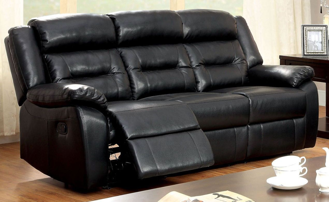 Sheldon Black Bonded Leather Match Reclining Sofa From Furniture Of America Cm6320 Sf